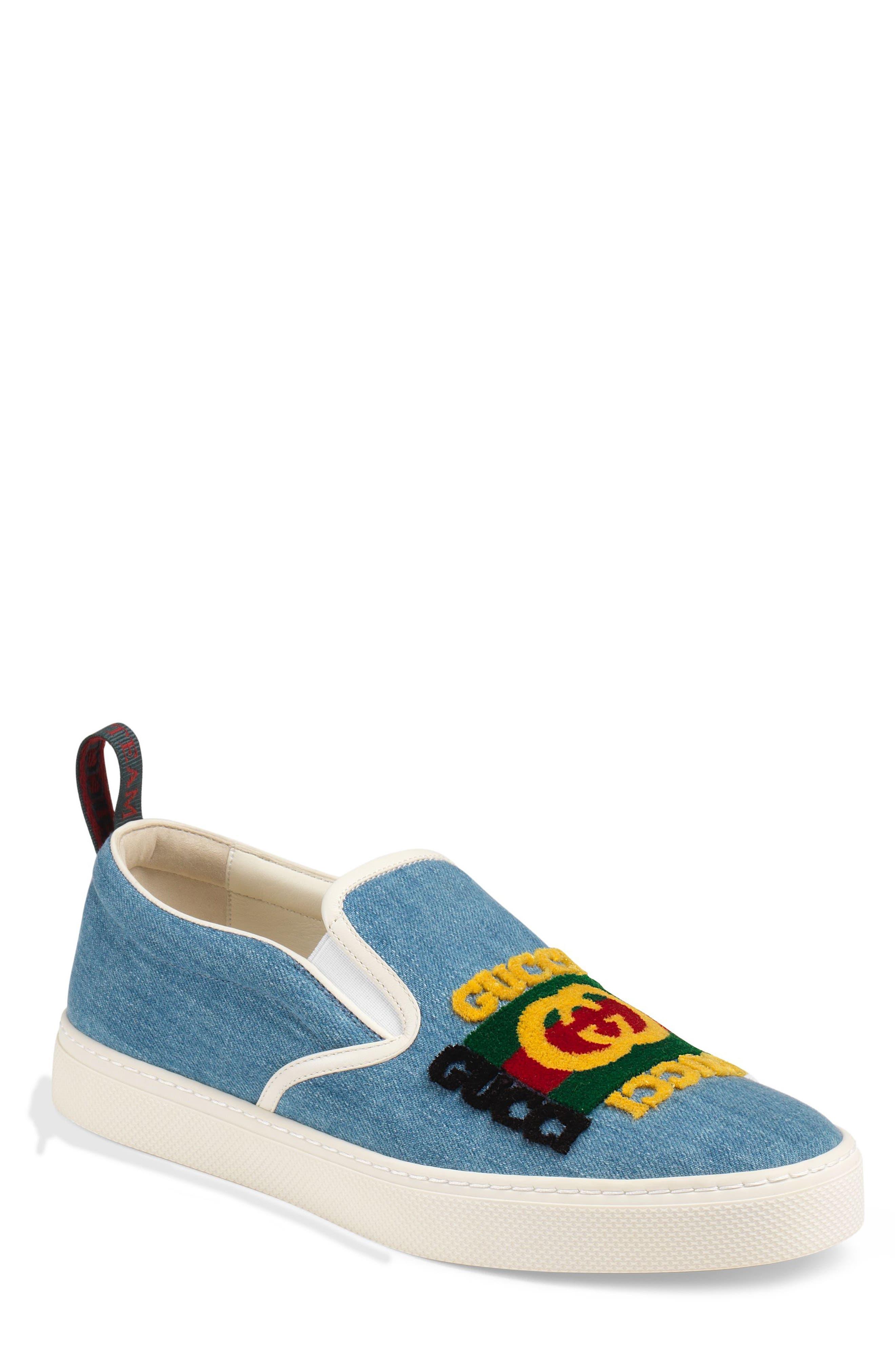 GUCCI, Dublin Slip-On Sneaker, Main thumbnail 1, color, BLUE/ BLACK