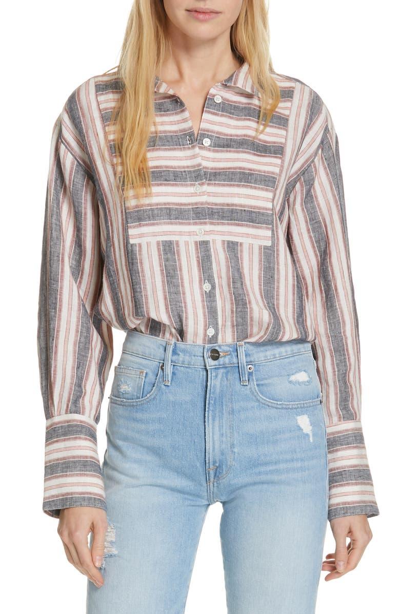Frame T-shirts STRIPE LINEN BIB SHIRT