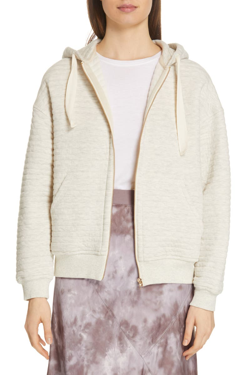 Atm Anthony Thomas Melillo Tops QUILTED ZIP HOODIE