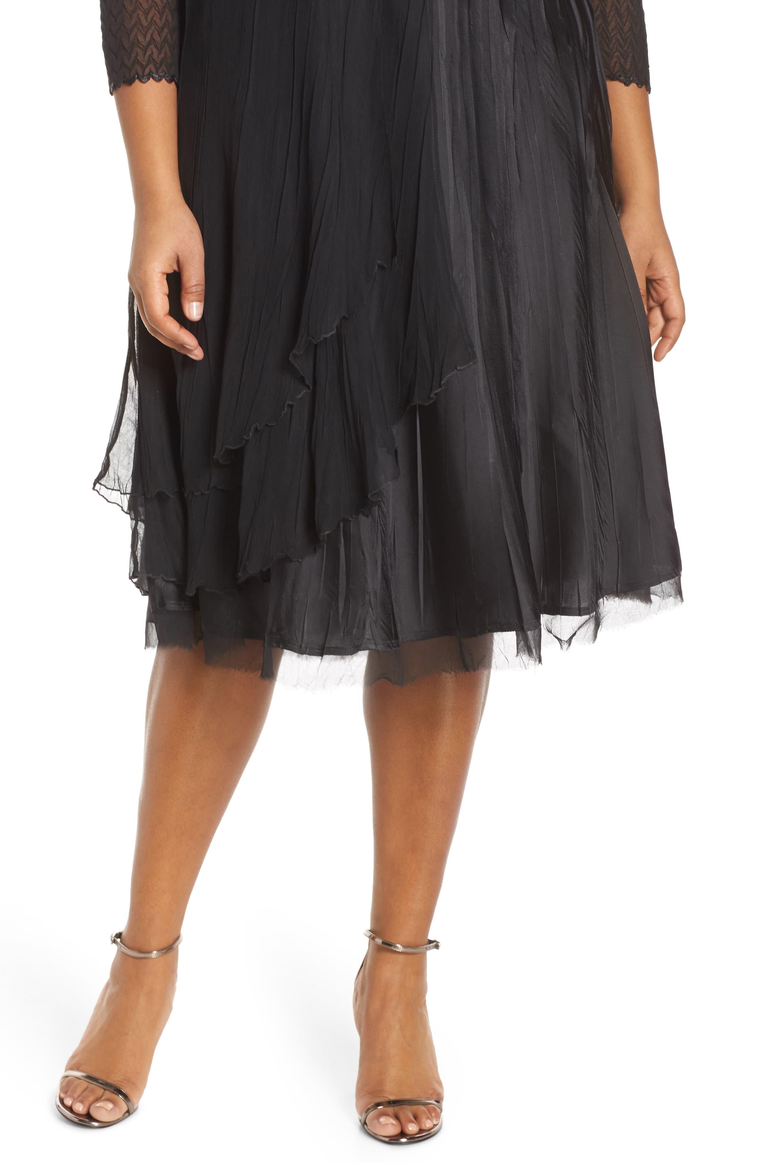 KOMAROV, Beaded Neck Chiffon Dress, Alternate thumbnail 5, color, 001