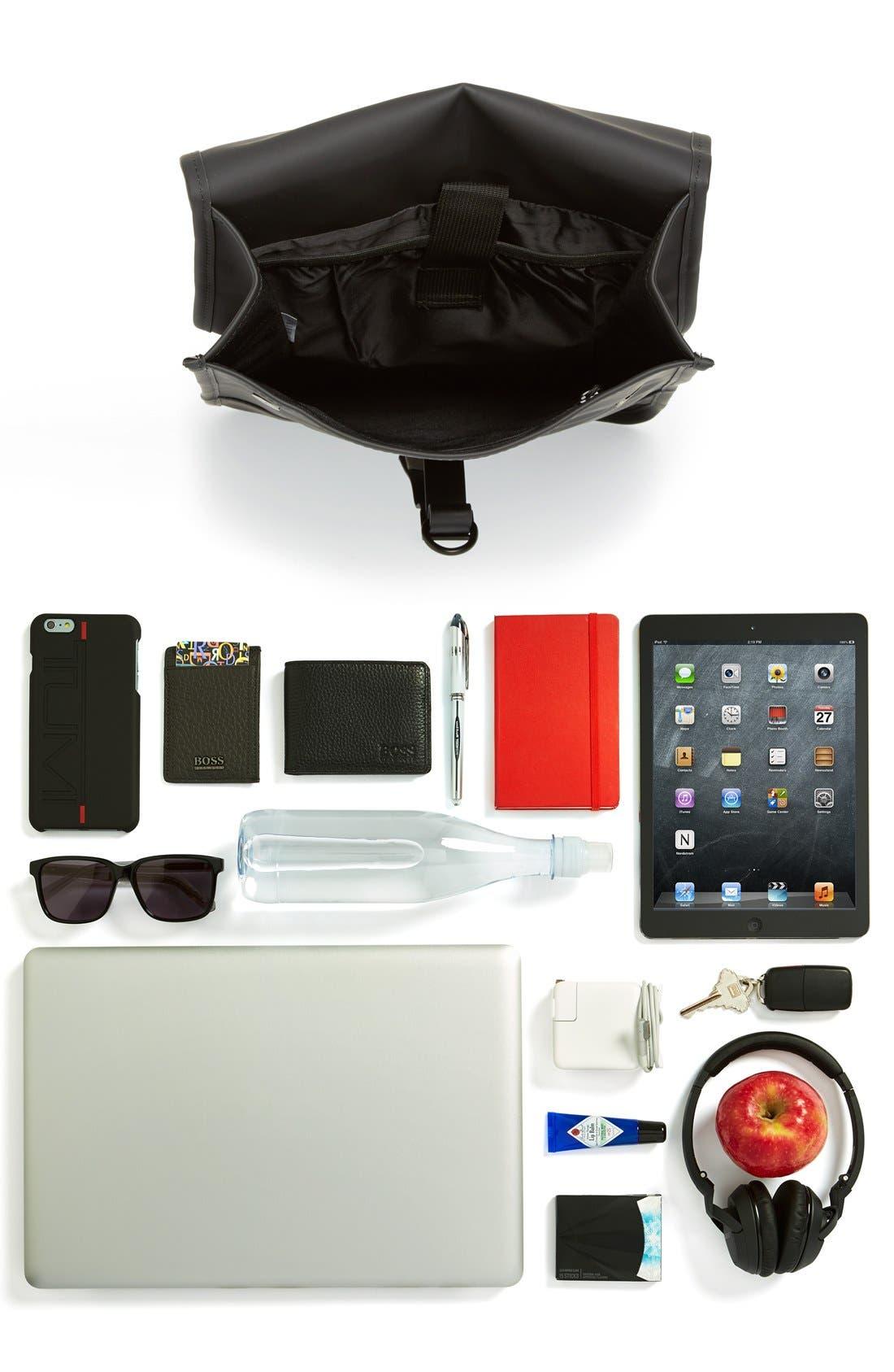 RAINS, Waterproof Backpack, Alternate thumbnail 6, color, BLACK