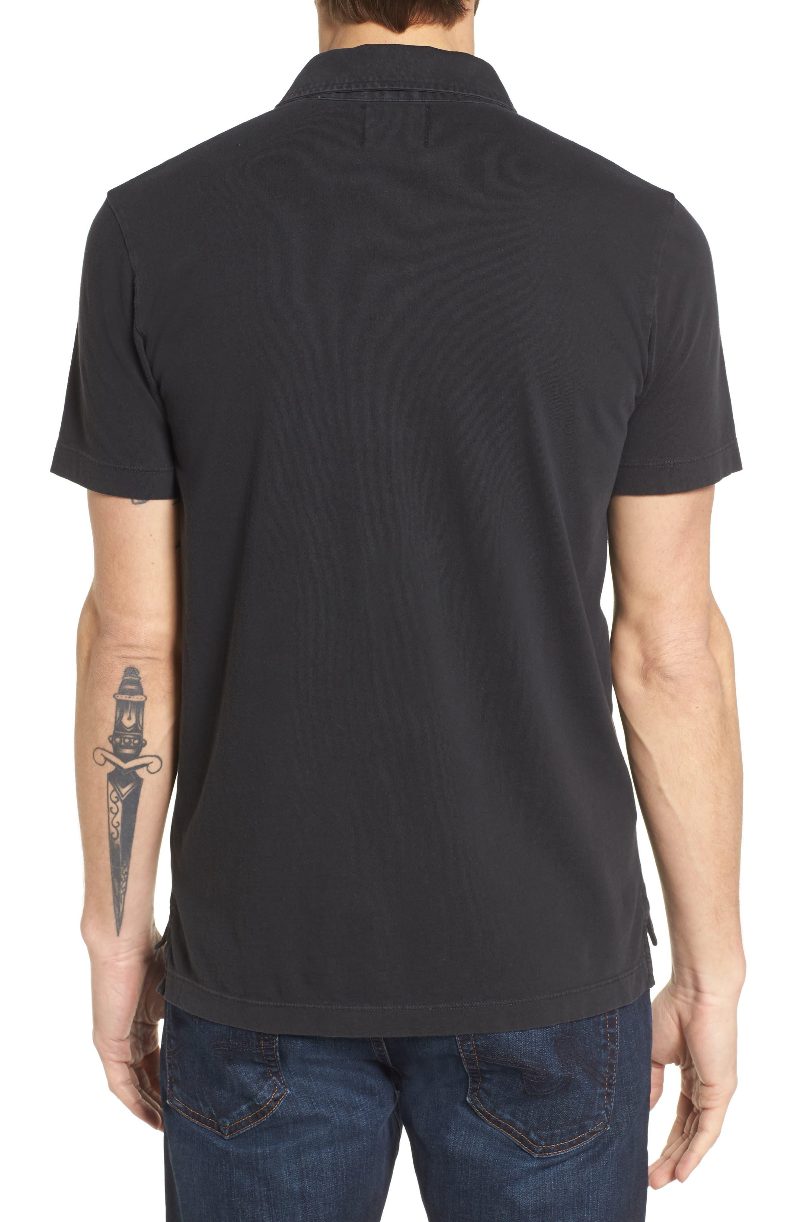 BILLY REID, Pensacola Slim Fit Garment Dye Polo, Alternate thumbnail 2, color, BLACK
