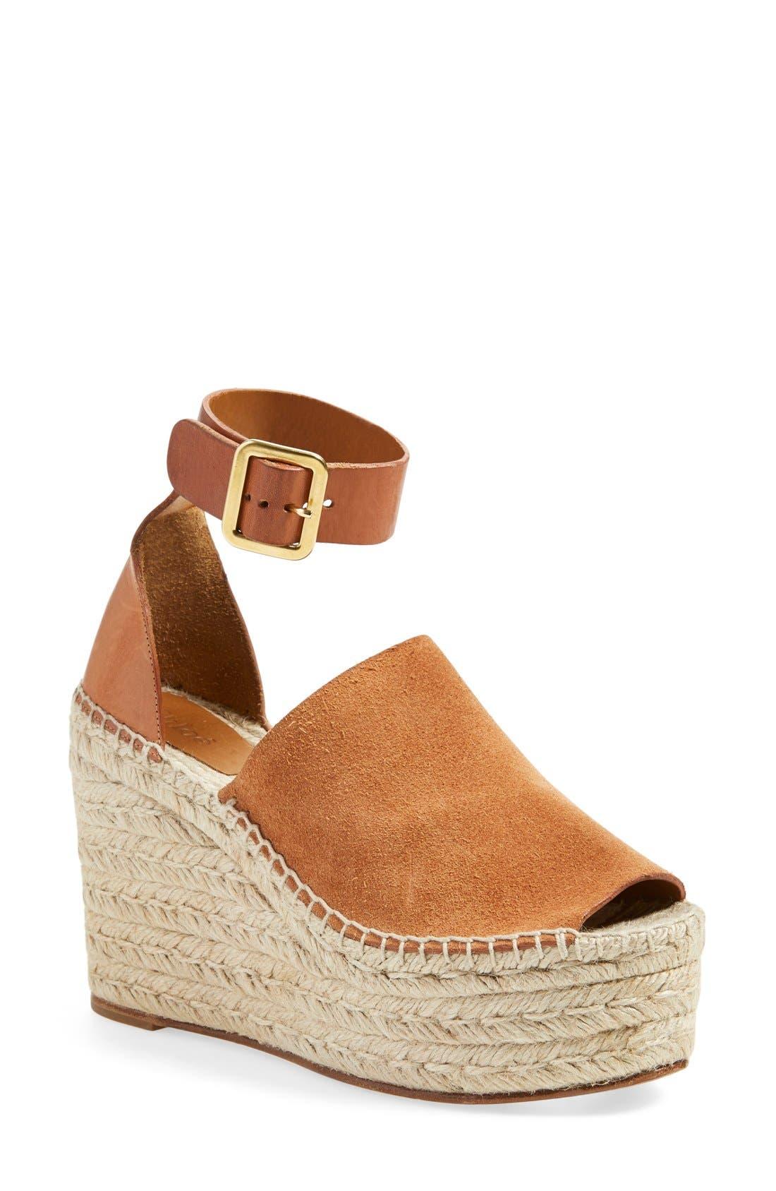 CHLOÉ 'Isa' Espadrille Wedge Sandal, Main, color, 200