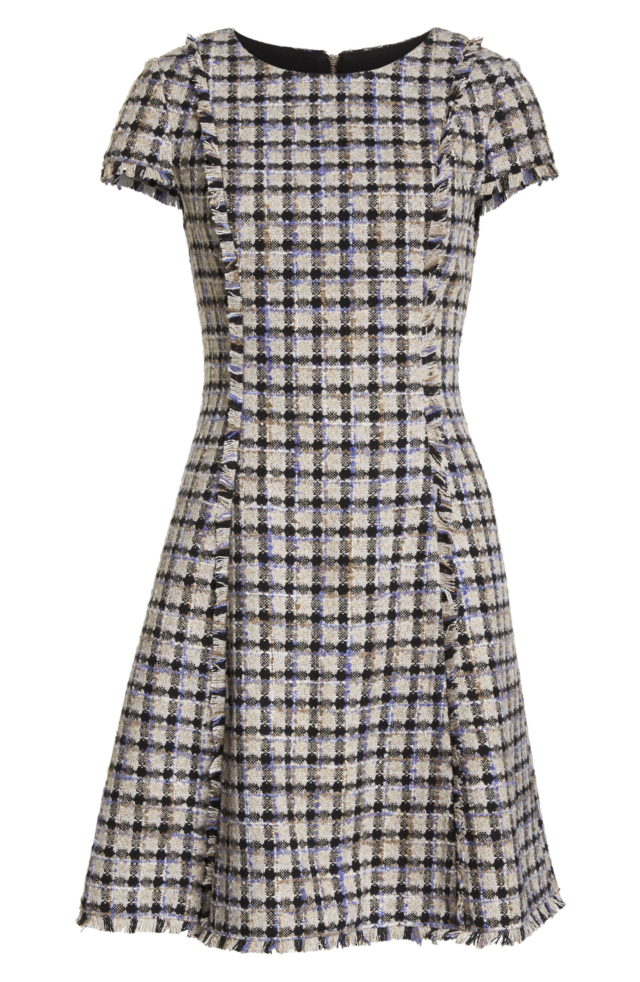 ELIZA J, Cap Sleeve Fit & Flare Dress, Alternate thumbnail 7, color, 900