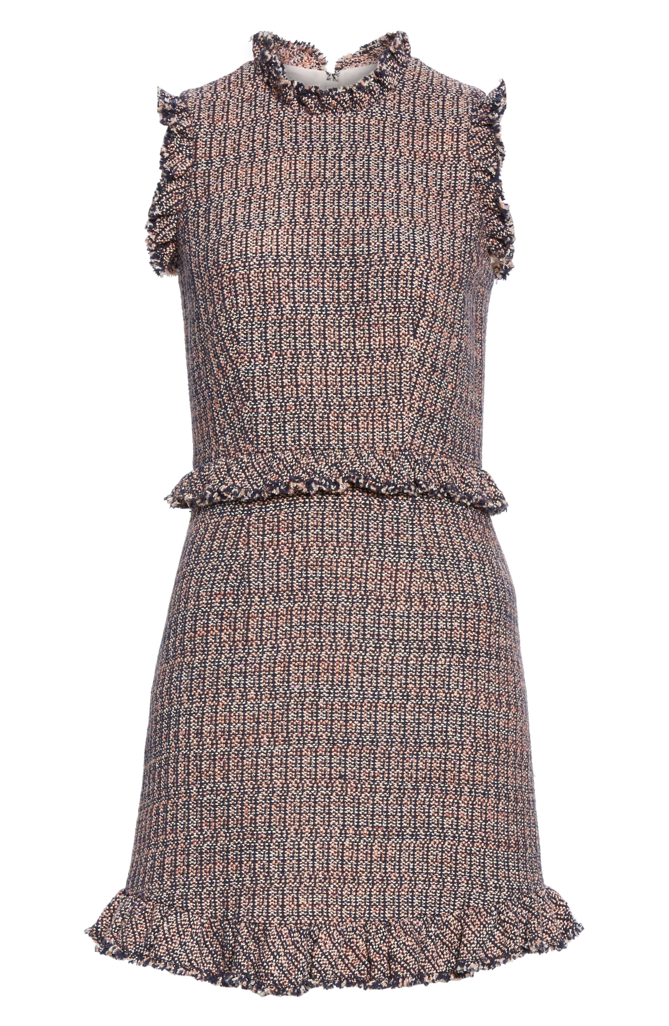 REBECCA TAYLOR, Frayed Ruffle Tweed Dress, Alternate thumbnail 7, color, PINK/ NAVY COMBO