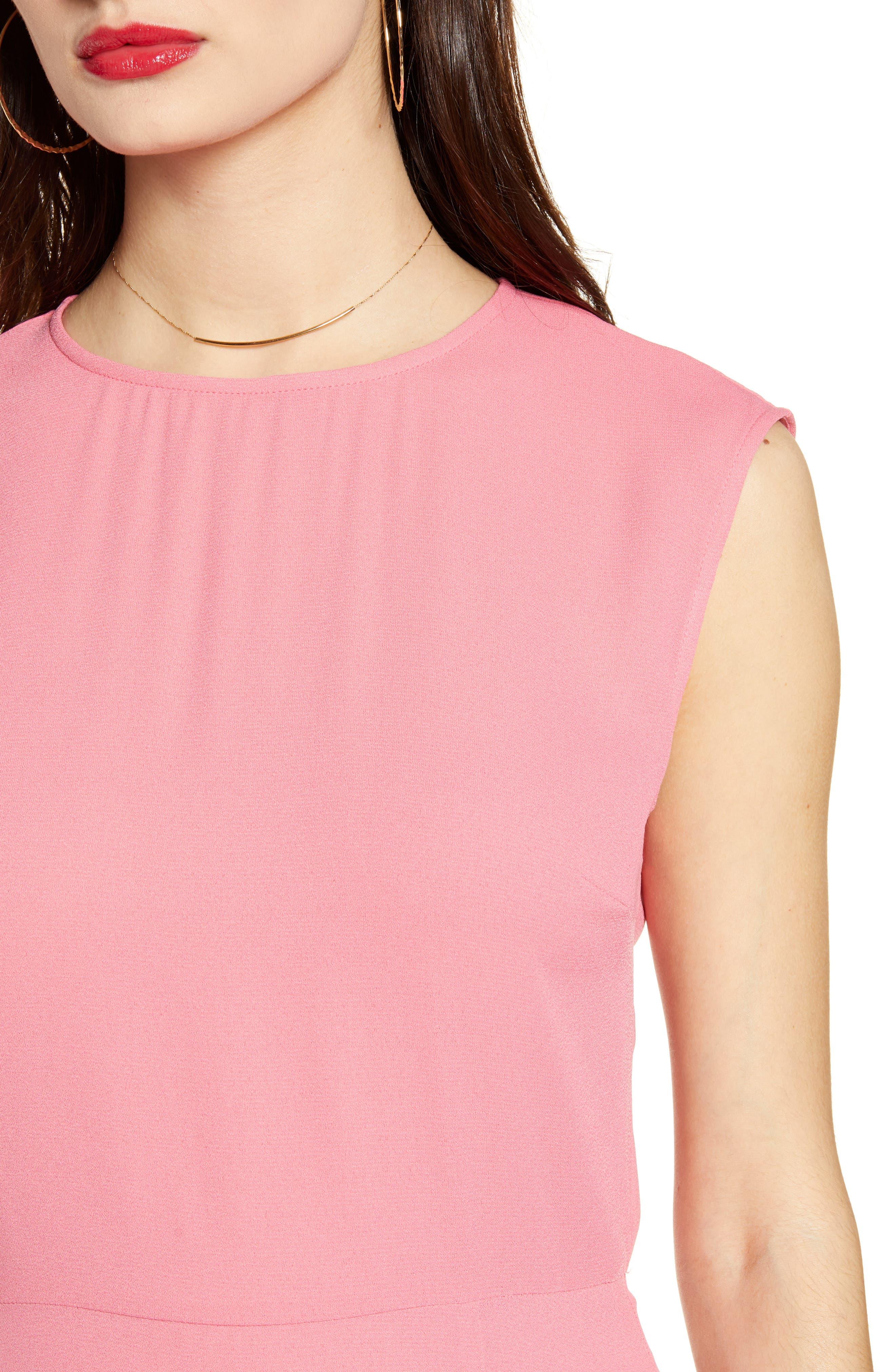 LEITH, Chic Midi Dress, Alternate thumbnail 5, color, PINK LEMONADE