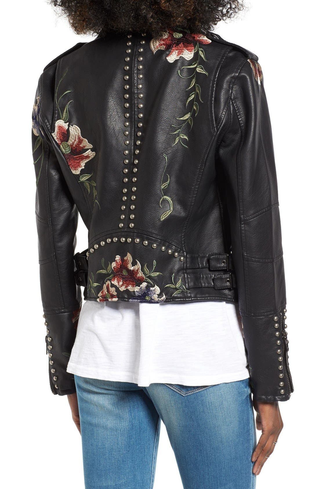 BLANKNYC, Embroidered Faux Leather Moto Jacket, Alternate thumbnail 5, color, 001