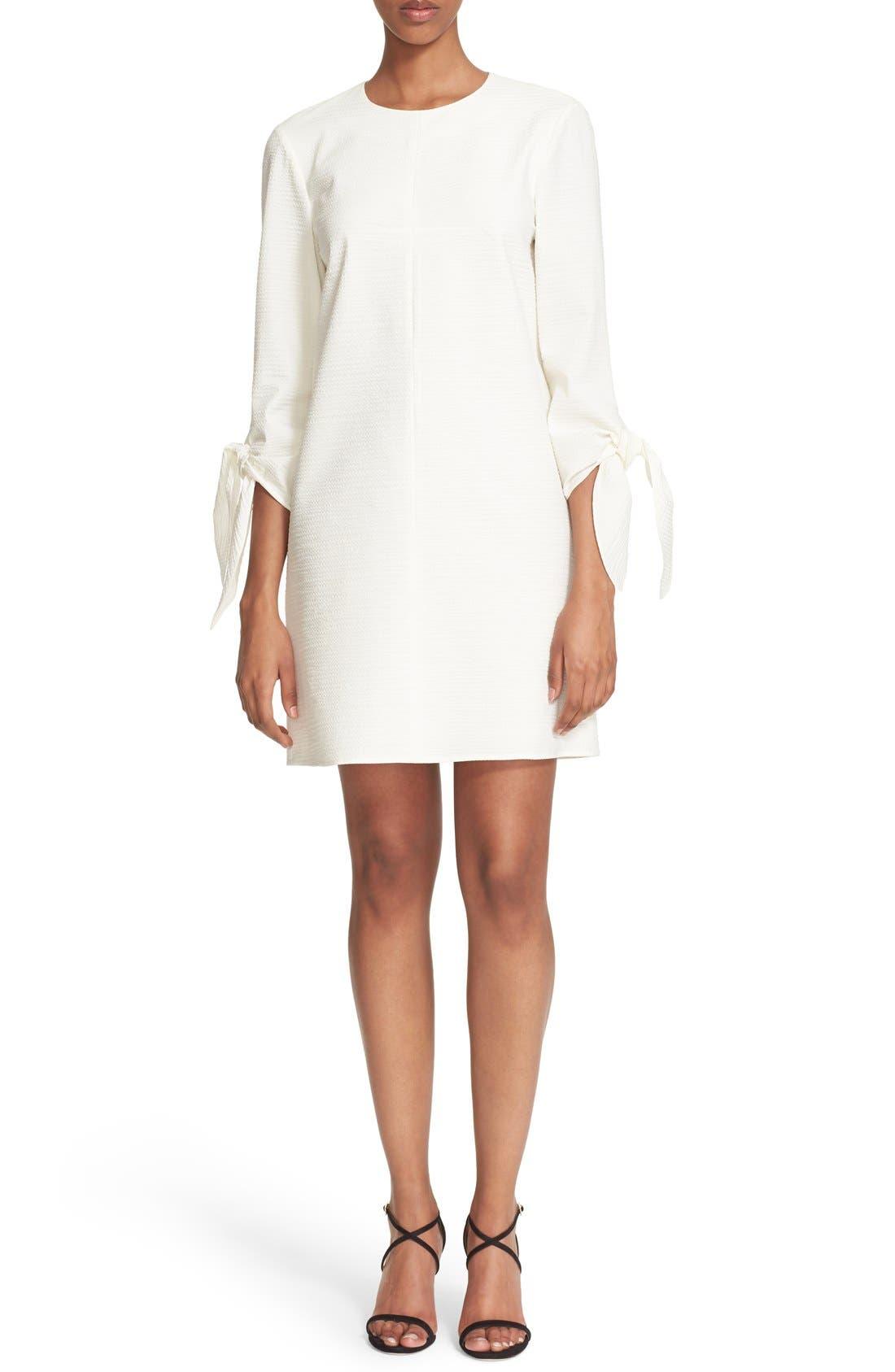 TIBI Tie Sleeve Textured Cotton Blend Shift Dress, Main, color, 100