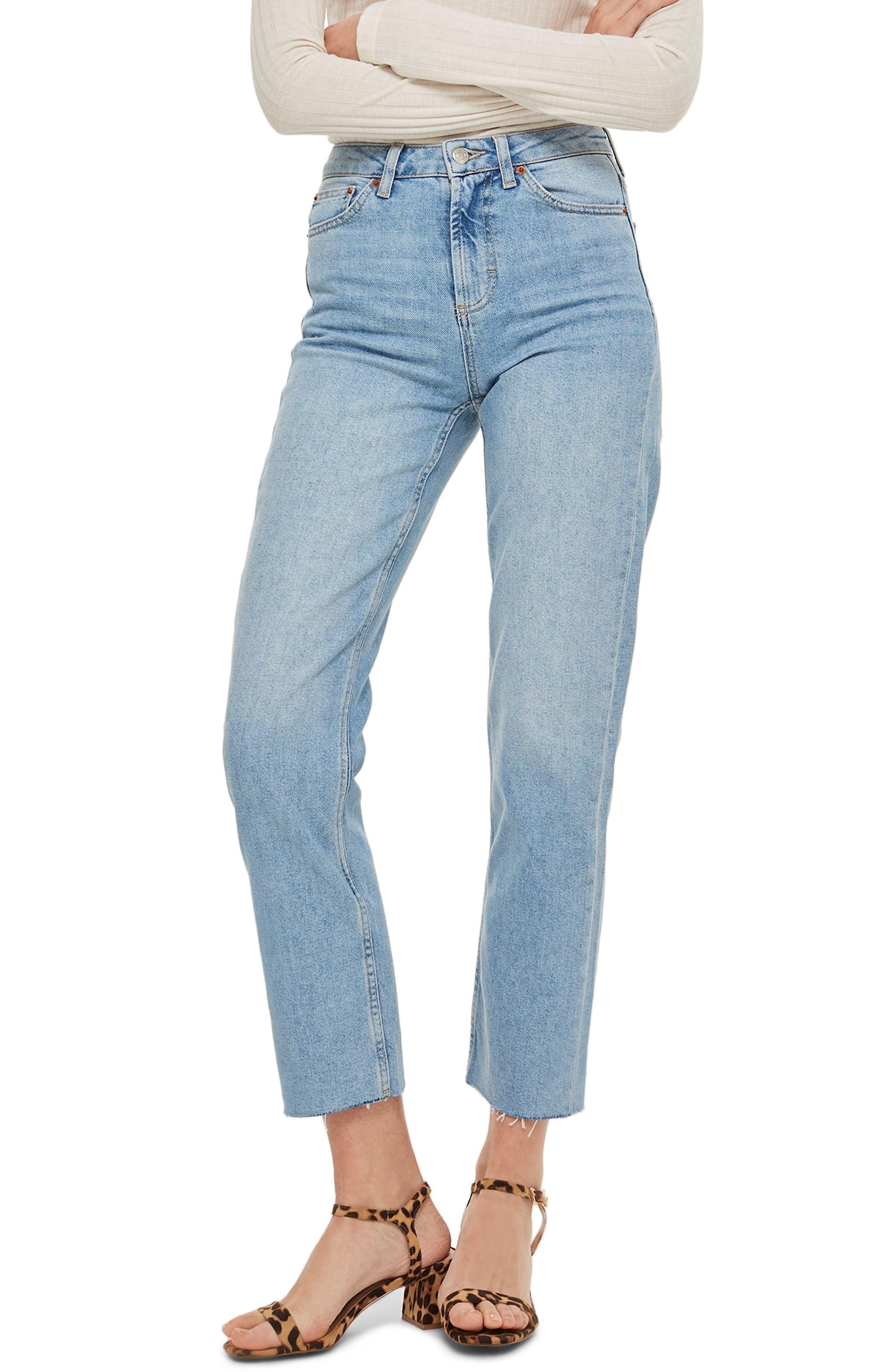 TOPSHOP, Raw Hem Straight Leg Jeans, Main thumbnail 1, color, BLEACH