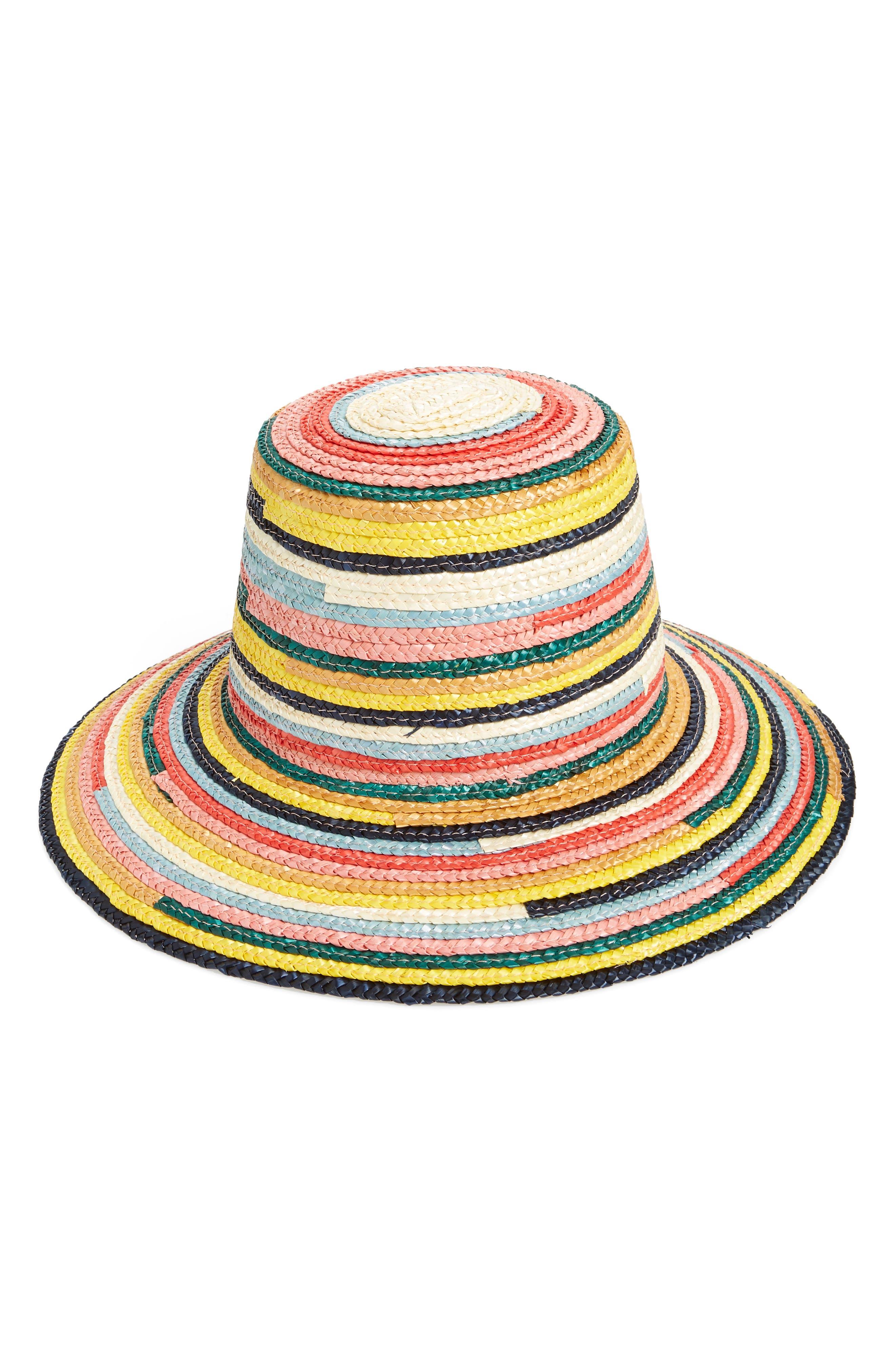 EUGENIA KIM, Stevie Straw Hat, Main thumbnail 1, color, MULTI