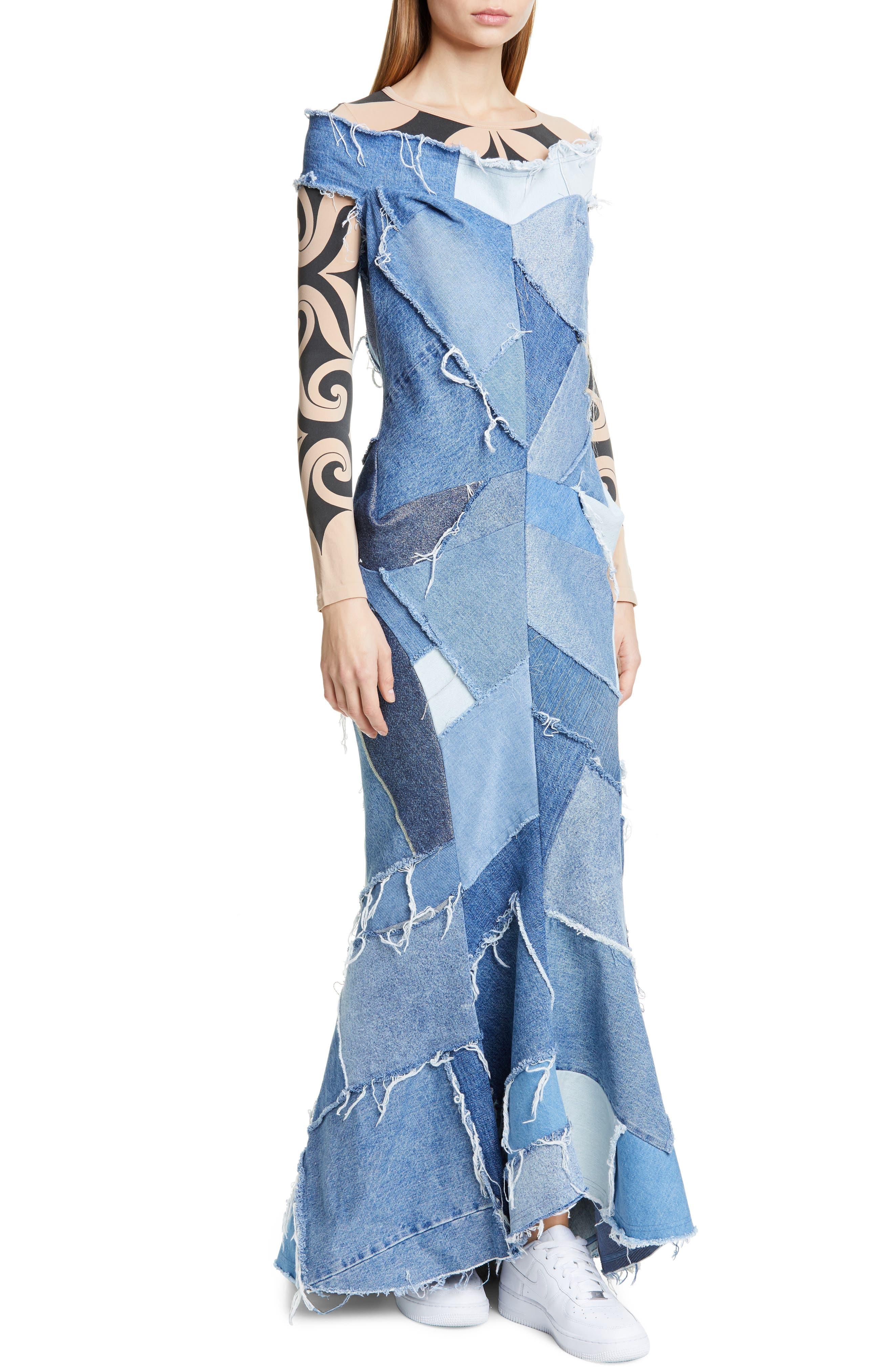 JUNYA WATANABE, Denim Patchwork Off the Shoulder Mermaid Dress, Alternate thumbnail 5, color, INDIGO