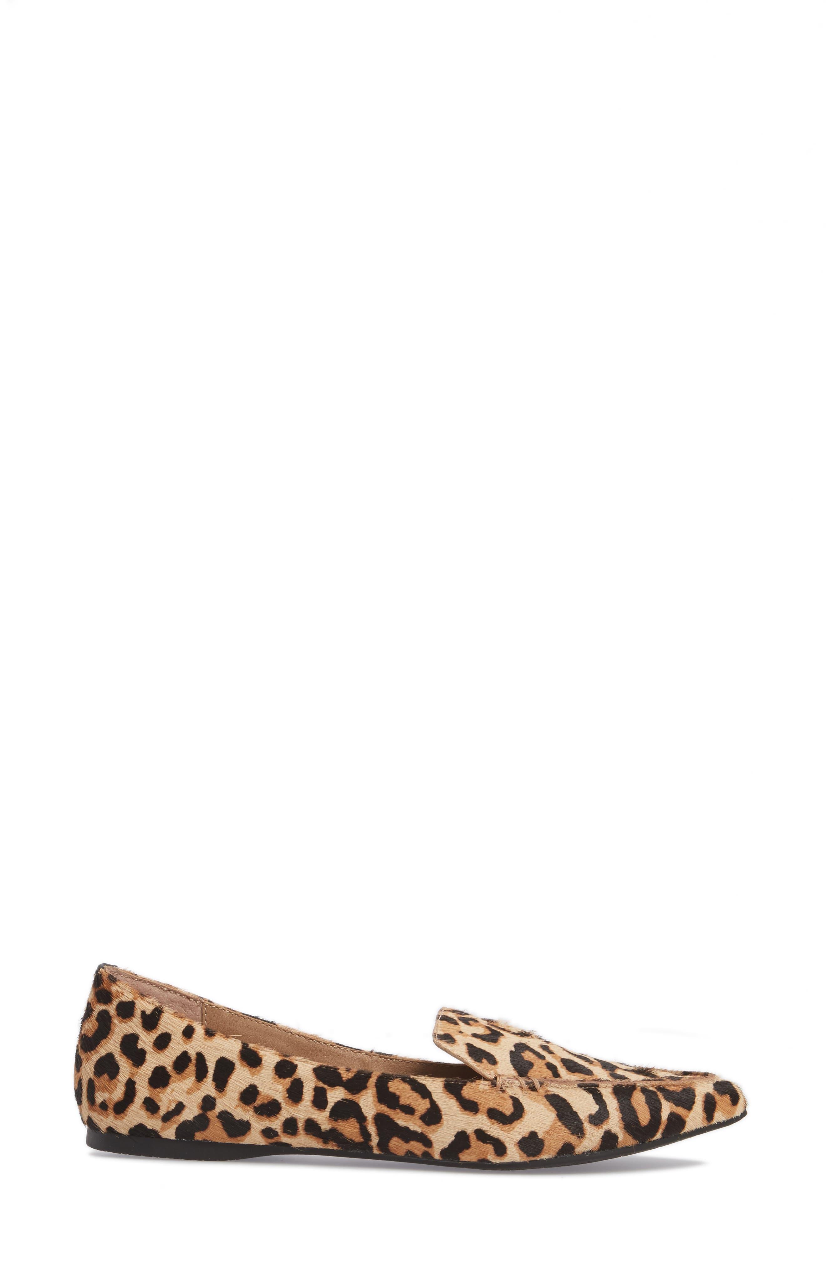 STEVE MADDEN, Feather-L Genuine Calf Hair Loafer Flat, Alternate thumbnail 3, color, LEOPARD