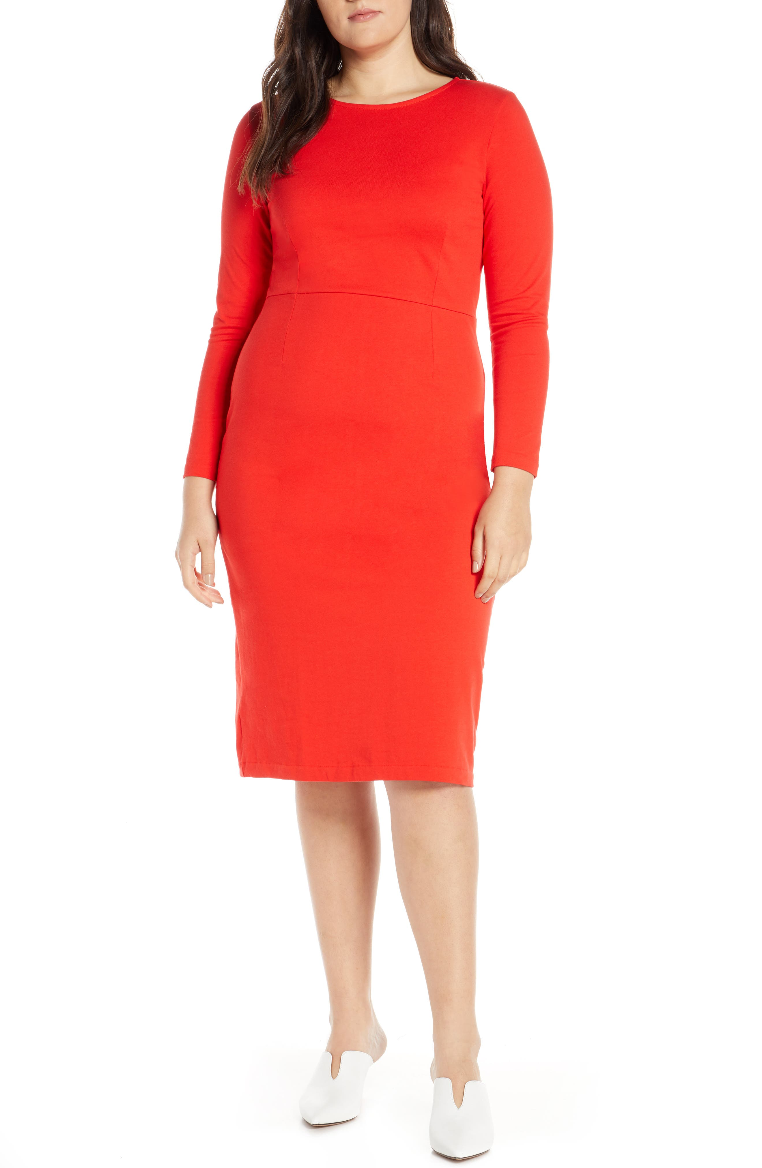 J.CREW, Knit Sheath Dress, Alternate thumbnail 2, color, BRIGHT CERISE