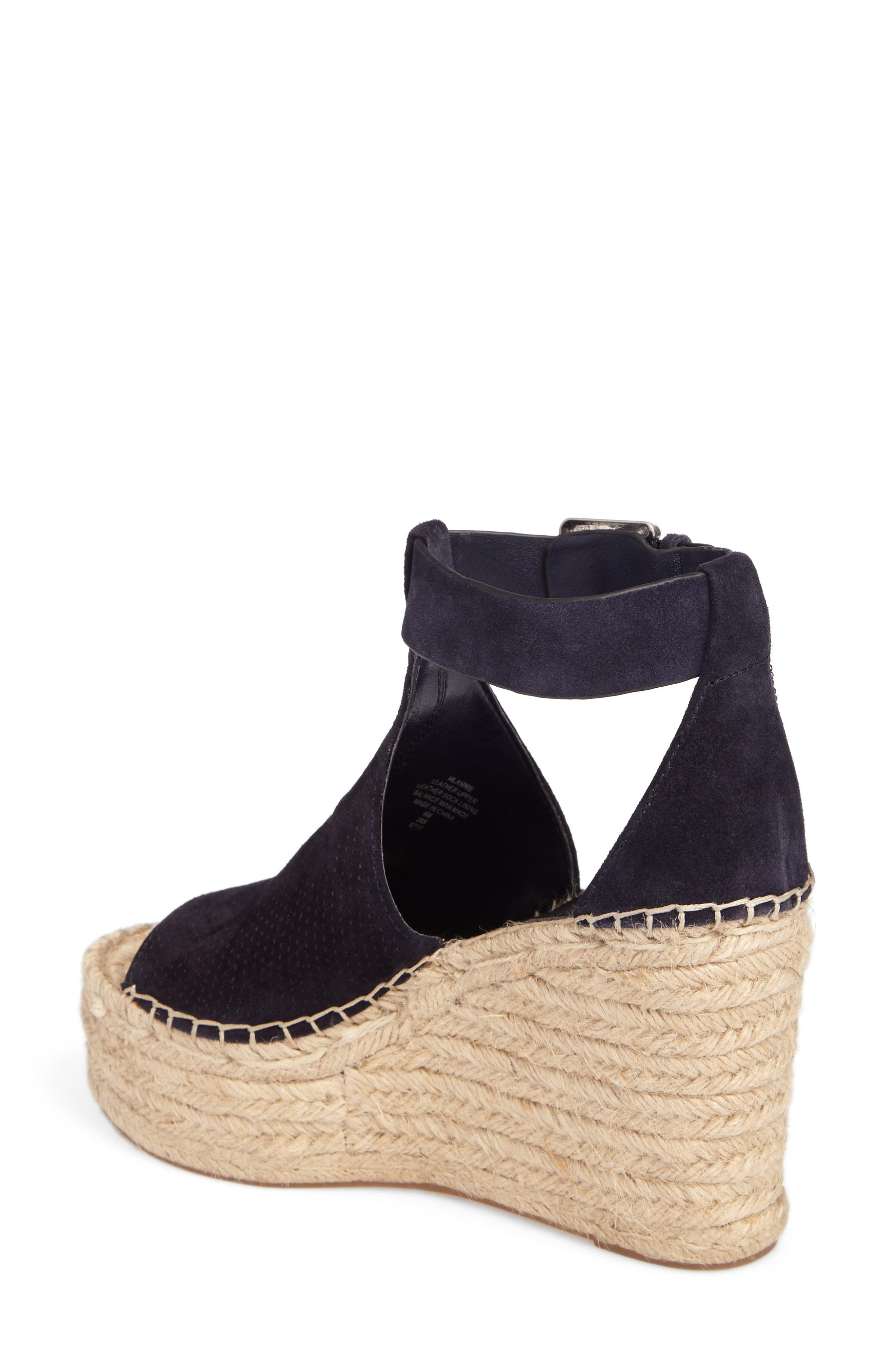 MARC FISHER LTD, Annie Perforated Espadrille Platform Wedge, Alternate thumbnail 2, color, 435