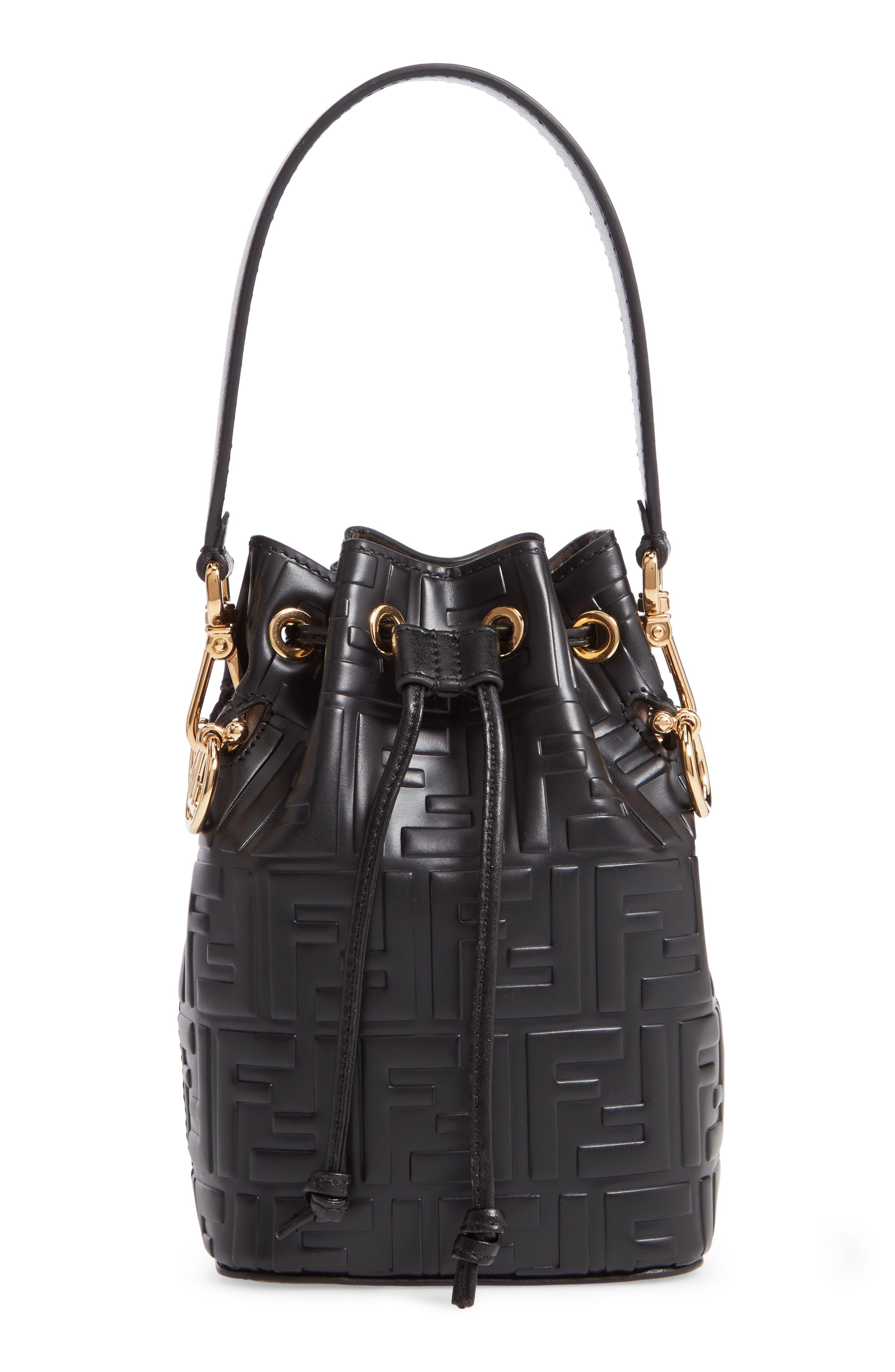 FENDI, Mini Mon Tresor Logo Leather Bucket Bag, Main thumbnail 1, color, NERO/ ORO SOFT