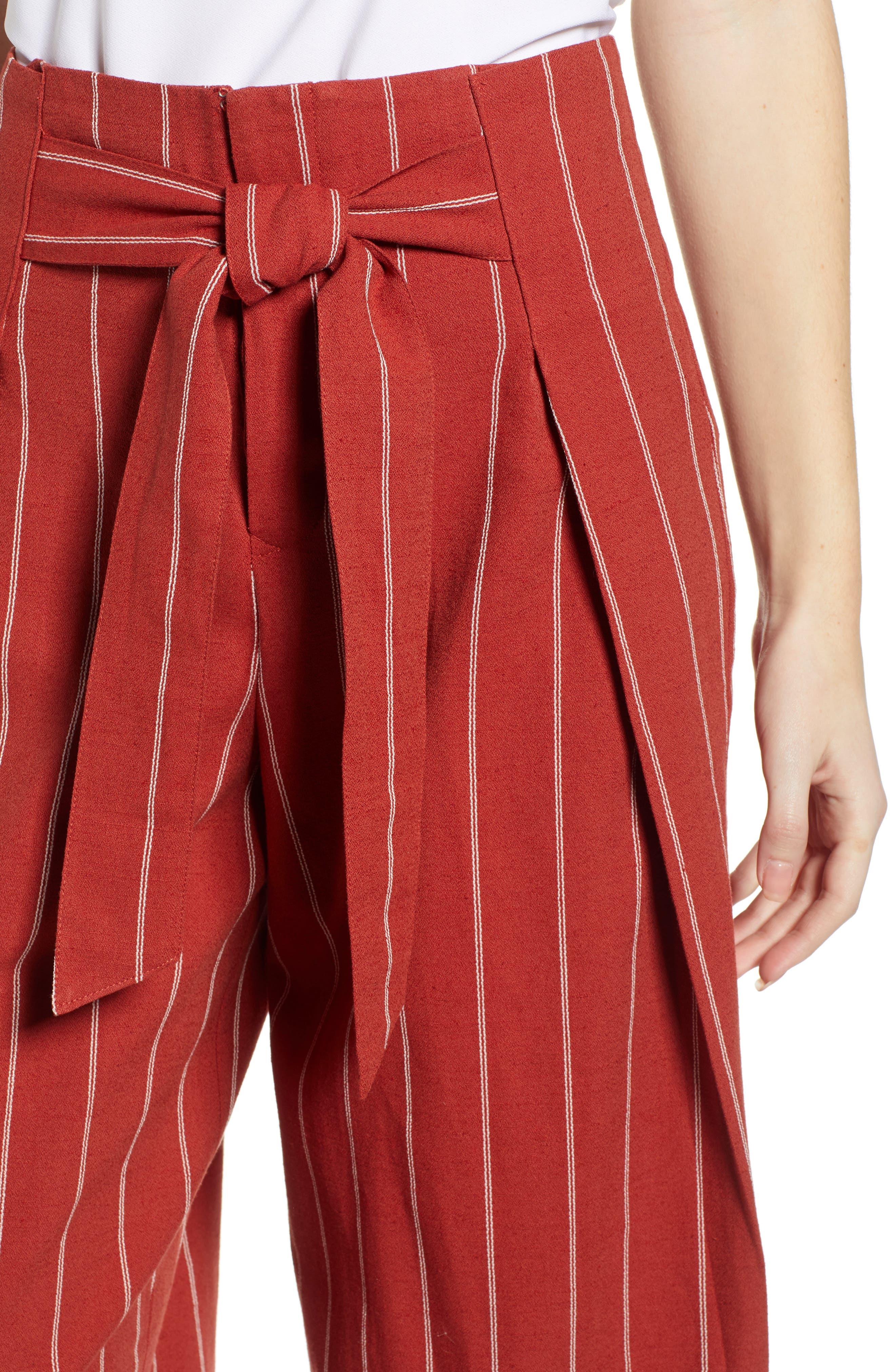 J.O.A., Wide Leg Linen & Cotton Pants, Alternate thumbnail 5, color, BRICK STRIPE
