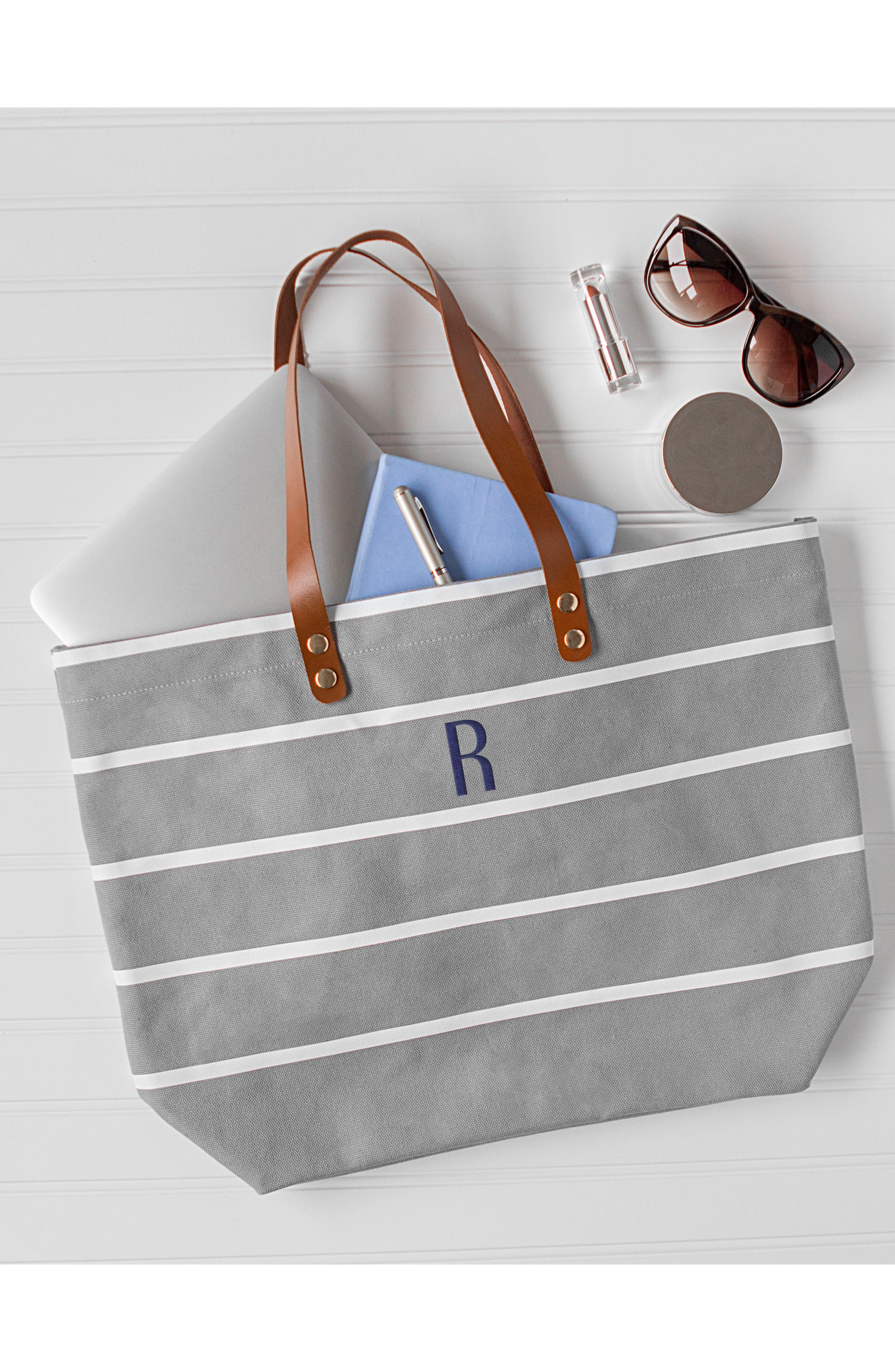CATHY'S CONCEPTS, Monogram Large Canvas Tote, Alternate thumbnail 5, color, GREY