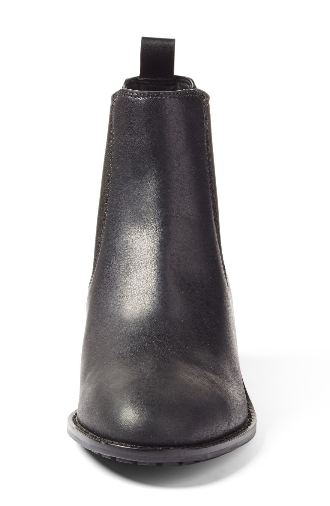COLE HAAN, Newburg Waterproof Chelsea Boot, Alternate thumbnail 3, color, BLACK LEATHER