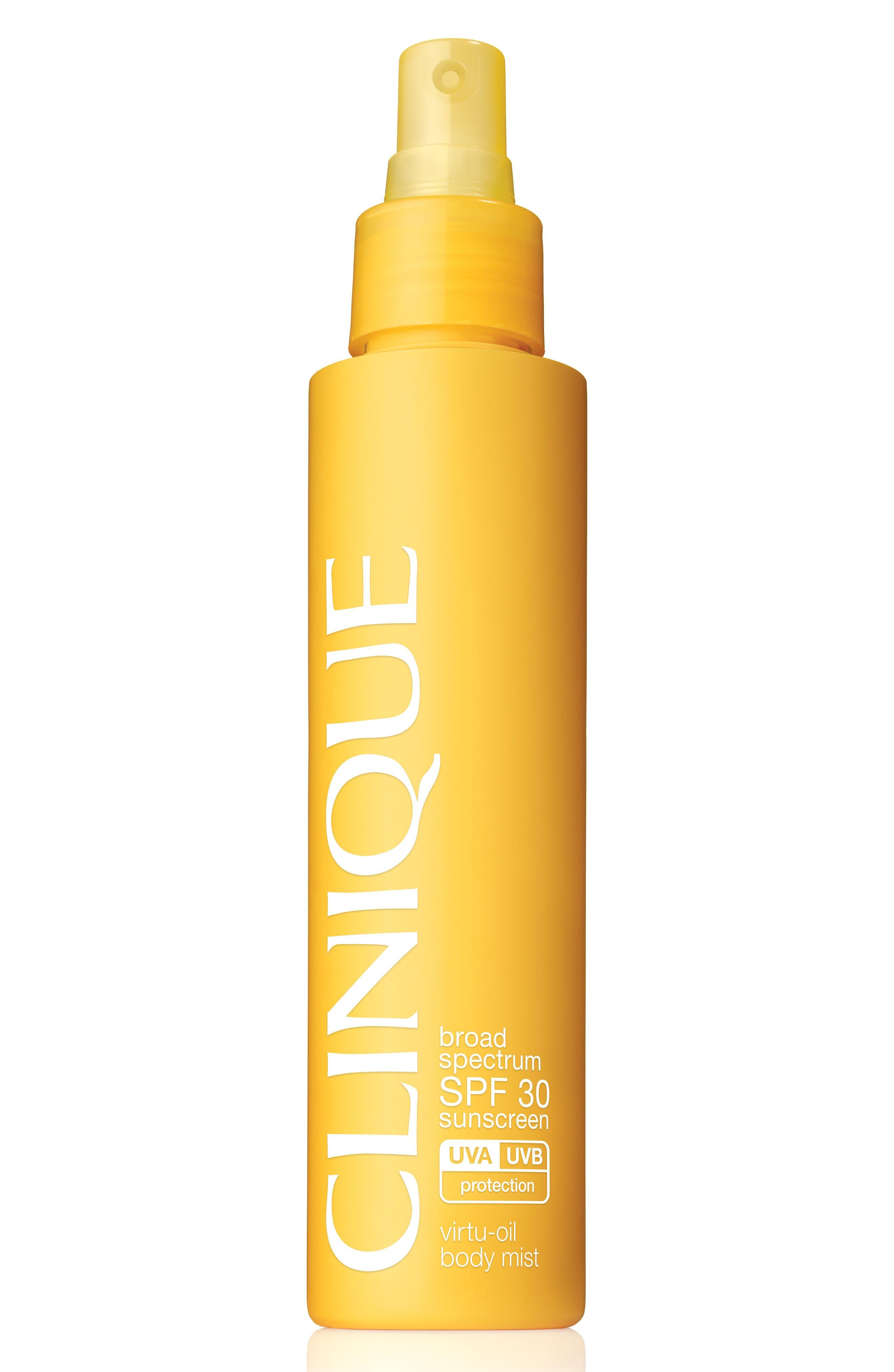 CLINIQUE Broad Spectrum SPF 30 Sunscreen Vitru-Oil Body Mist, Main, color, NO COLOR