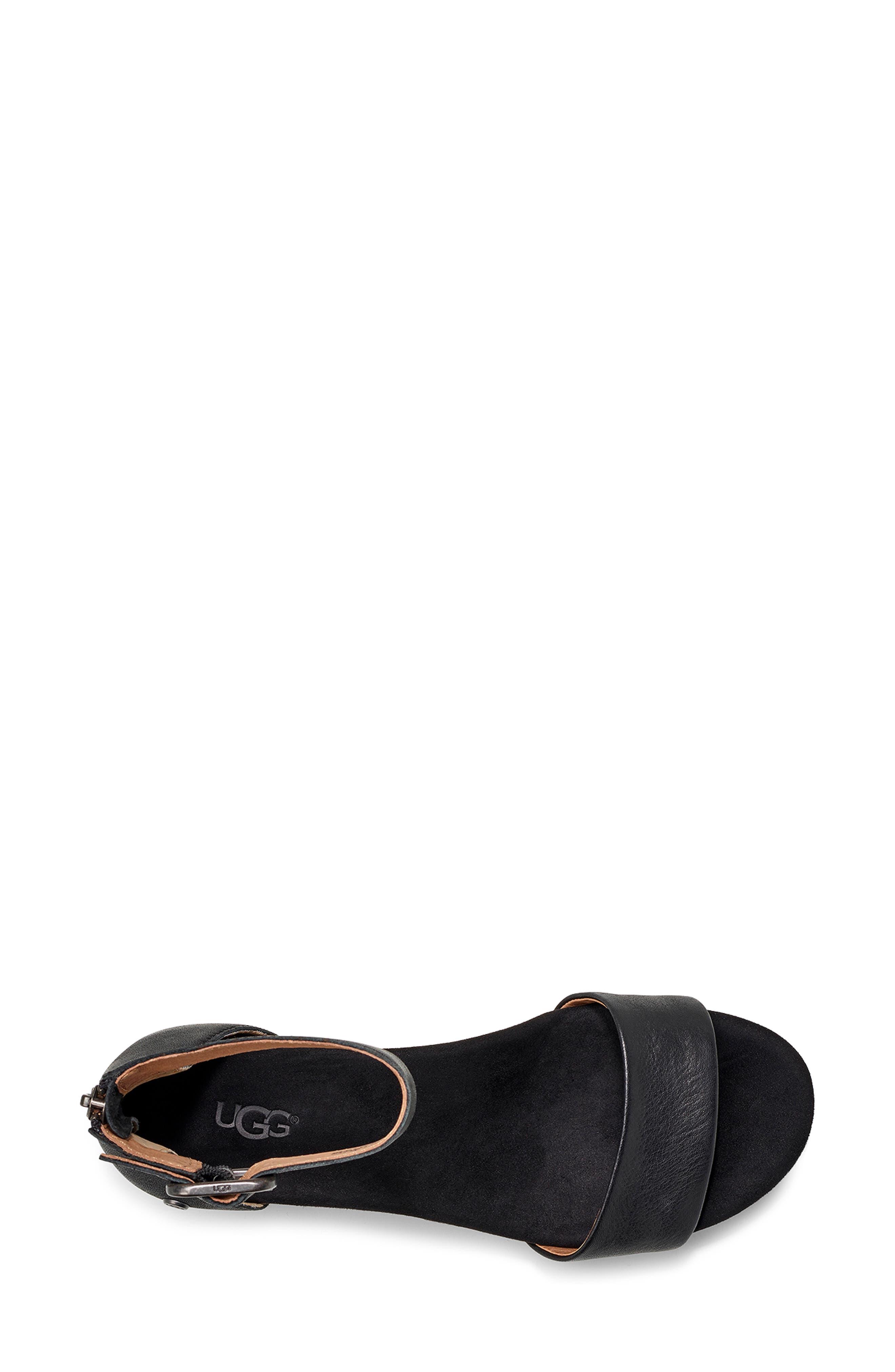 UGG<SUP>®</SUP>, Zoe II Wedge Sandal, Alternate thumbnail 4, color, BLACK LEATHER