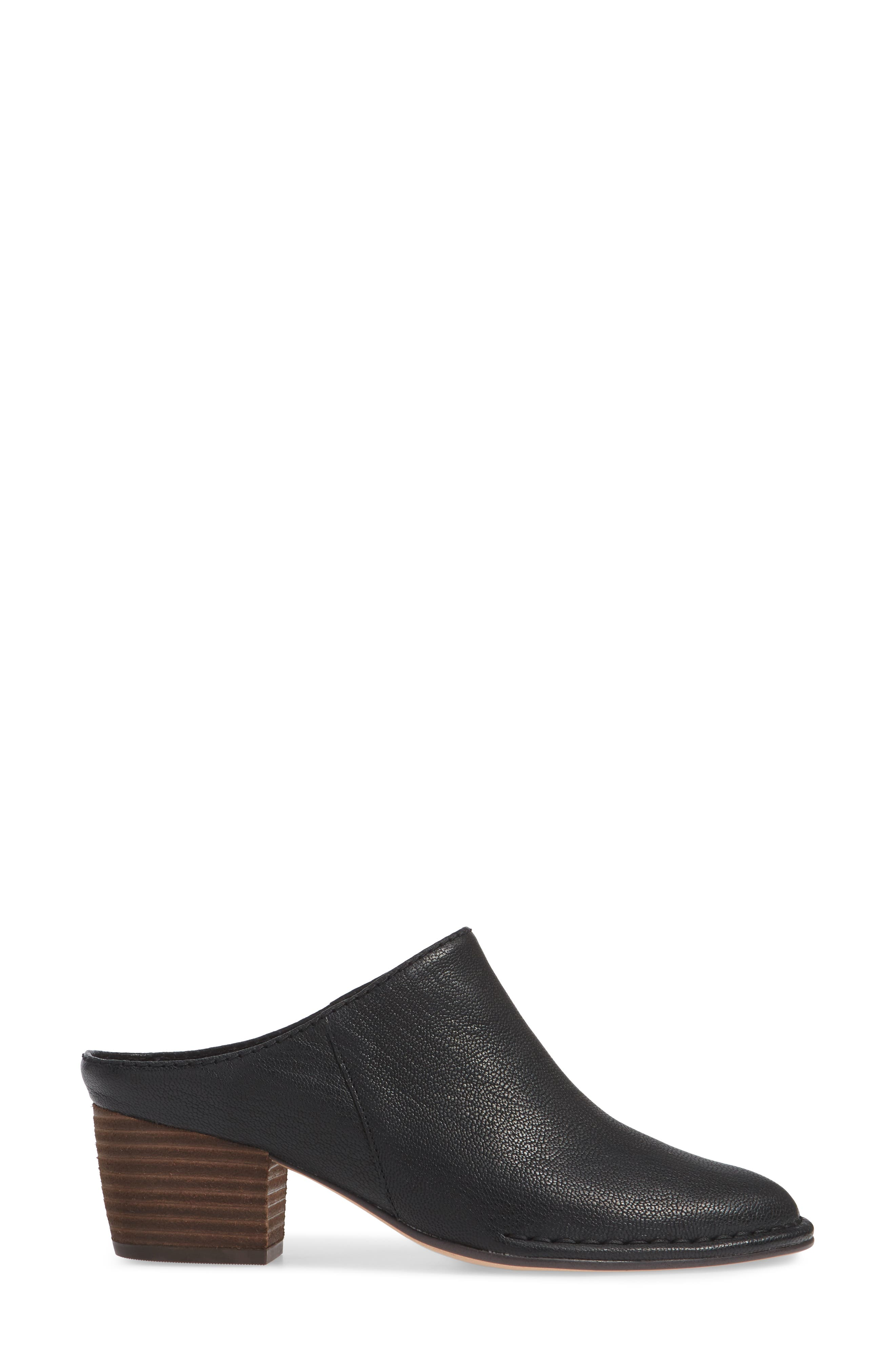 CLARKS<SUP>®</SUP>, Spiced Isla Mule, Alternate thumbnail 3, color, BLACK LEATHER