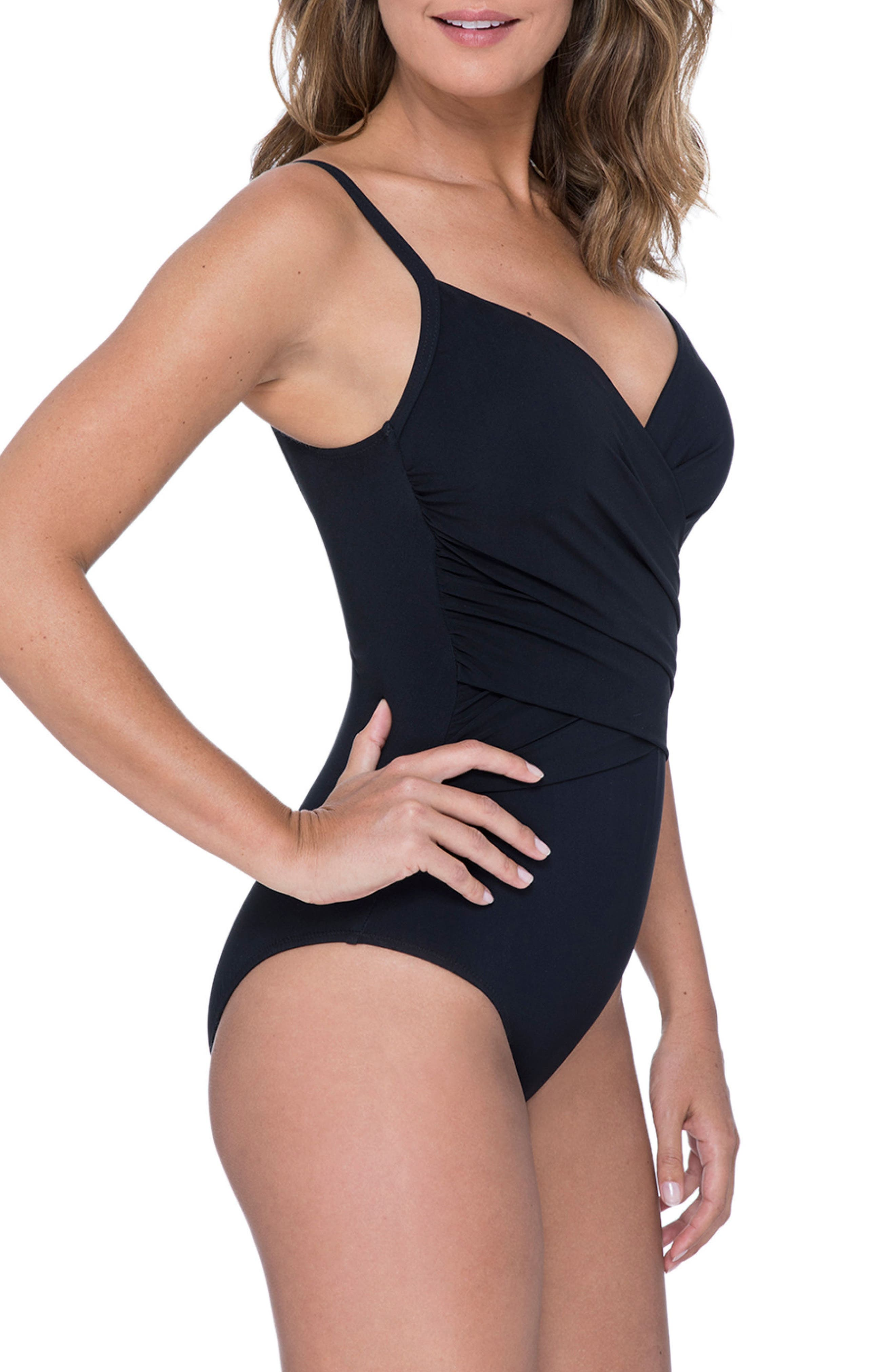 PROFILE BY GOTTEX, One-Piece Swimsuit, Alternate thumbnail 3, color, BLACK
