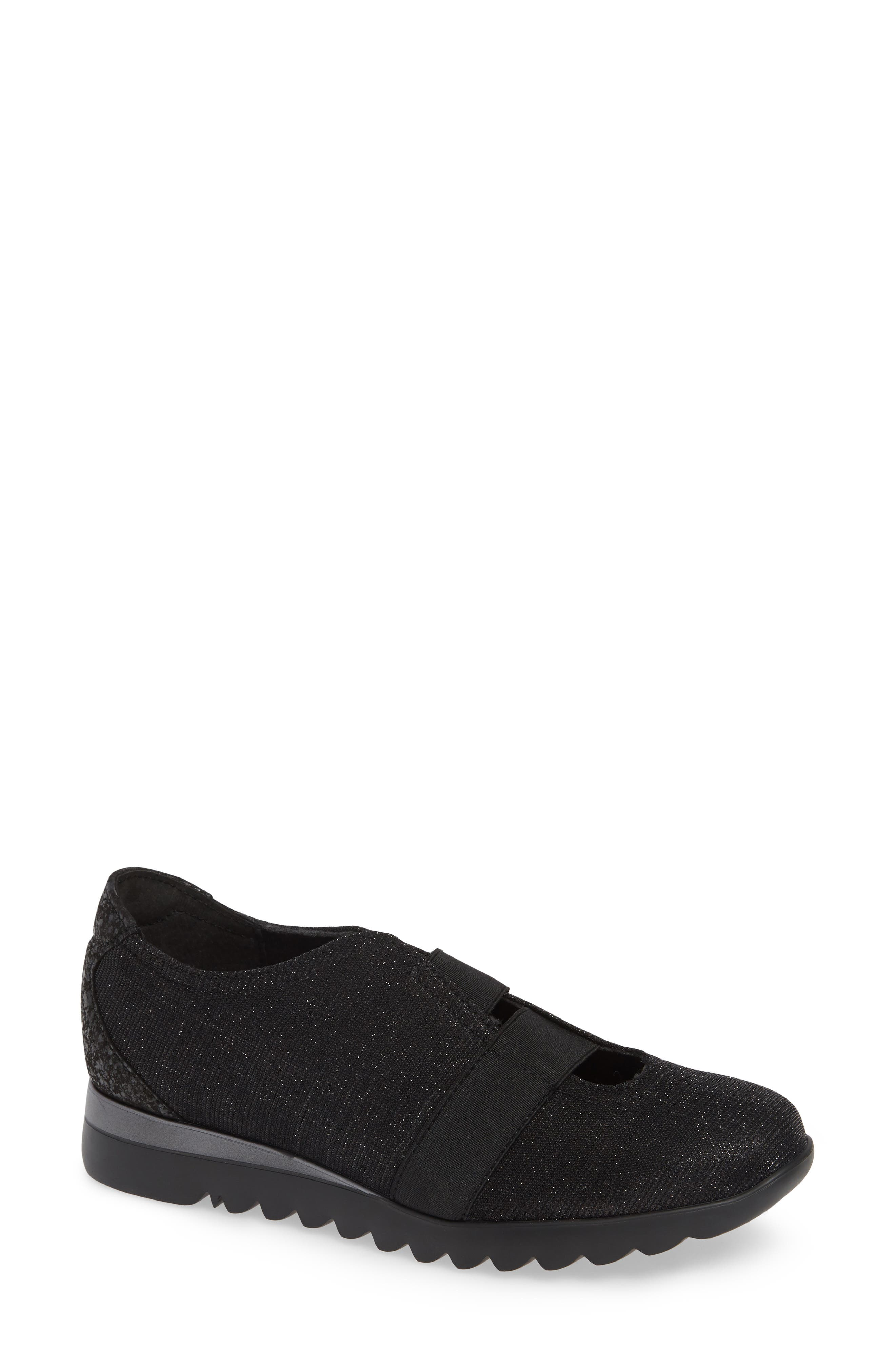 MUNRO, Alta Slip-On Sneaker, Main thumbnail 1, color, BLACK SPARKLE FABRIC