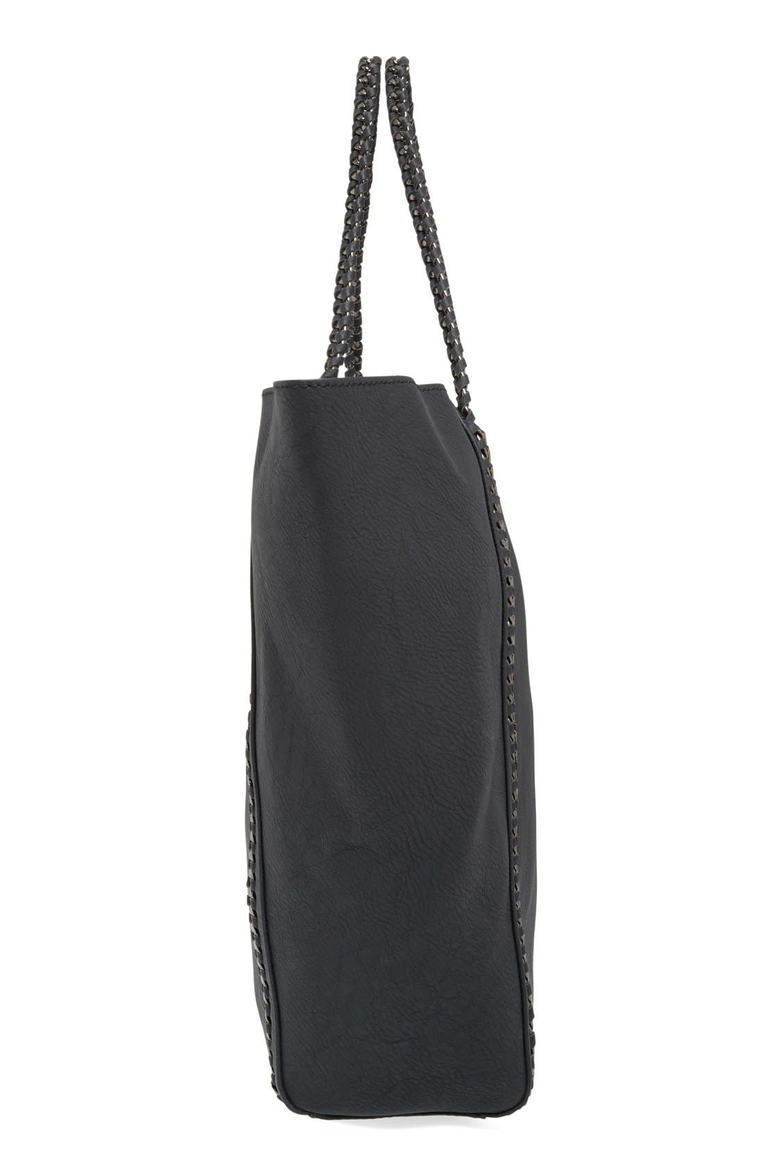 PHASE 3, Chain Faux Leather Tote, Alternate thumbnail 2, color, 001