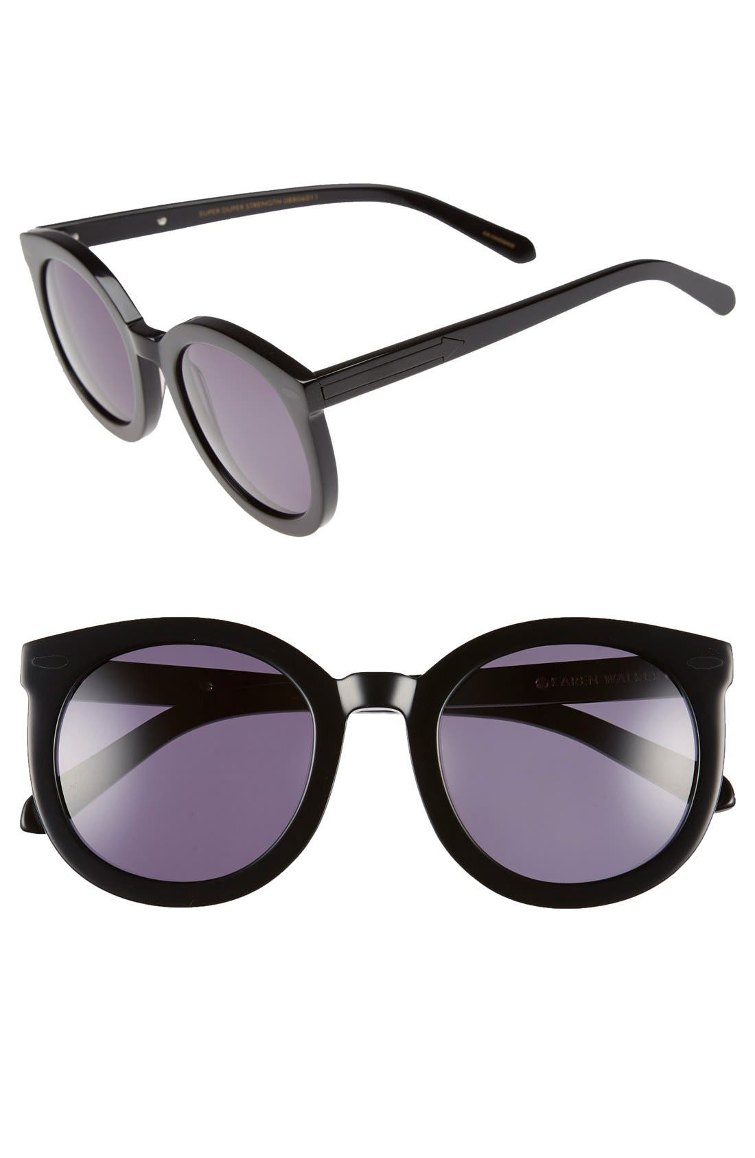 KAREN WALKER, Super Duper Strength 55mm Sunglasses, Main thumbnail 1, color, 001