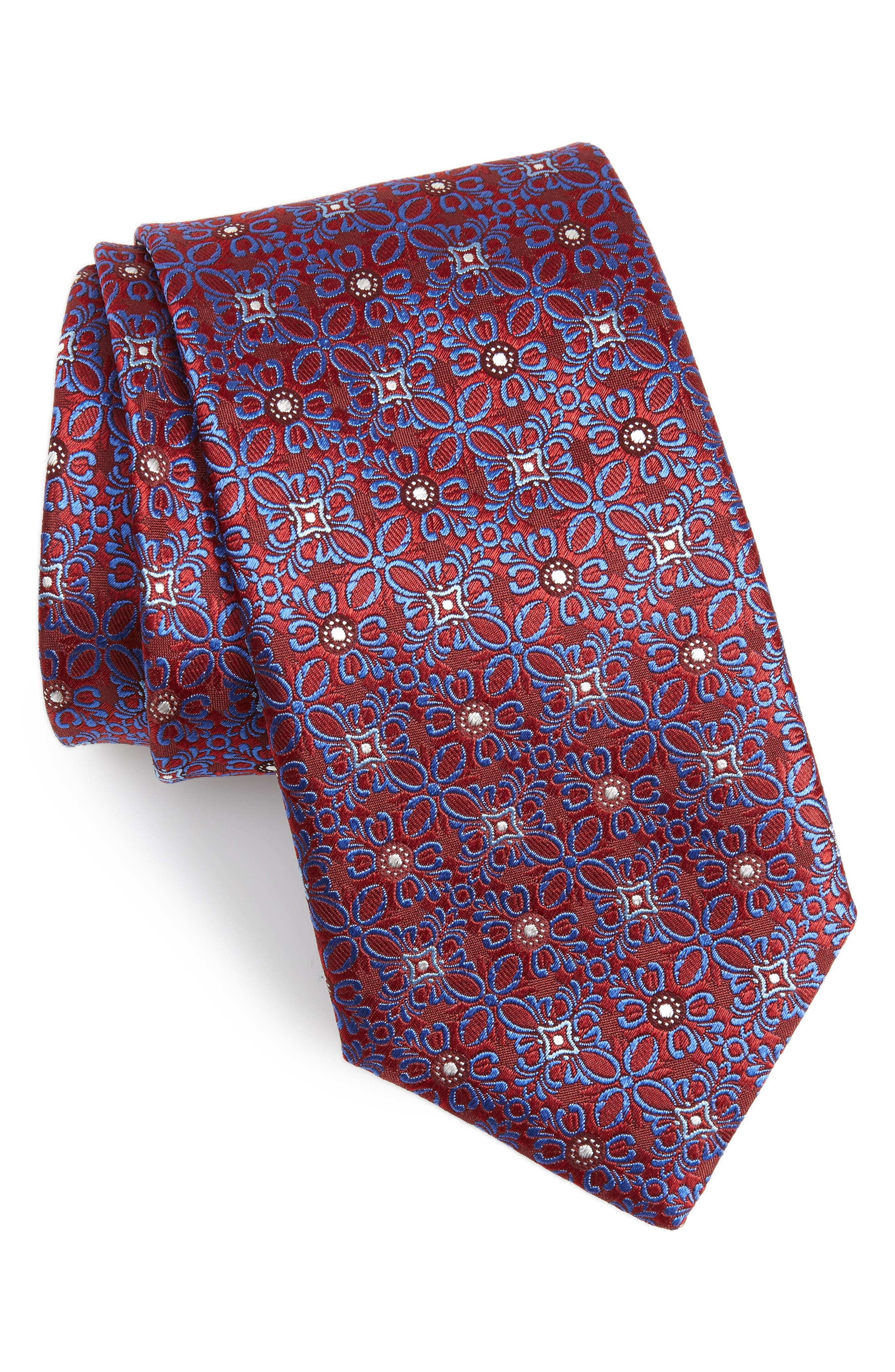 CANALI Medallion Silk Tie, Main, color, RED