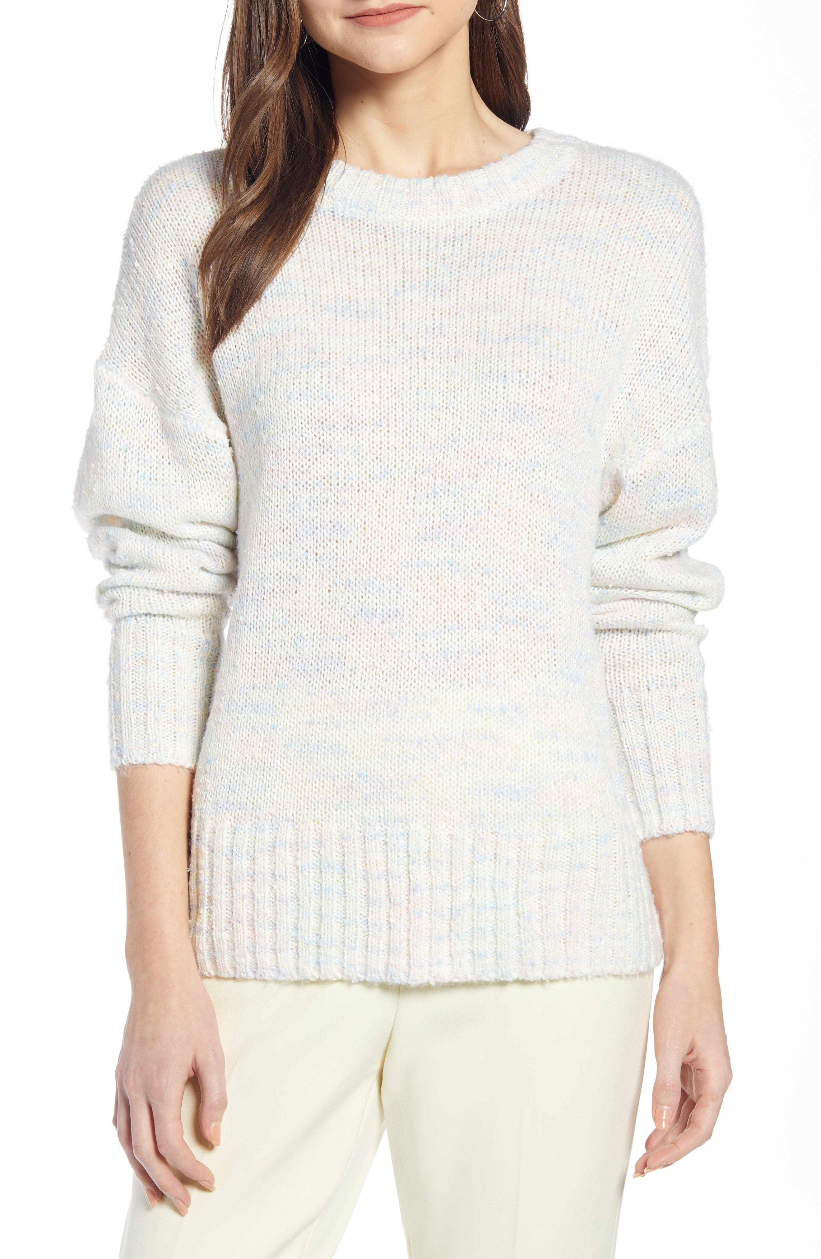 SOMETHING NAVY Crewneck Sweater, Main, color, IVORY COMBO