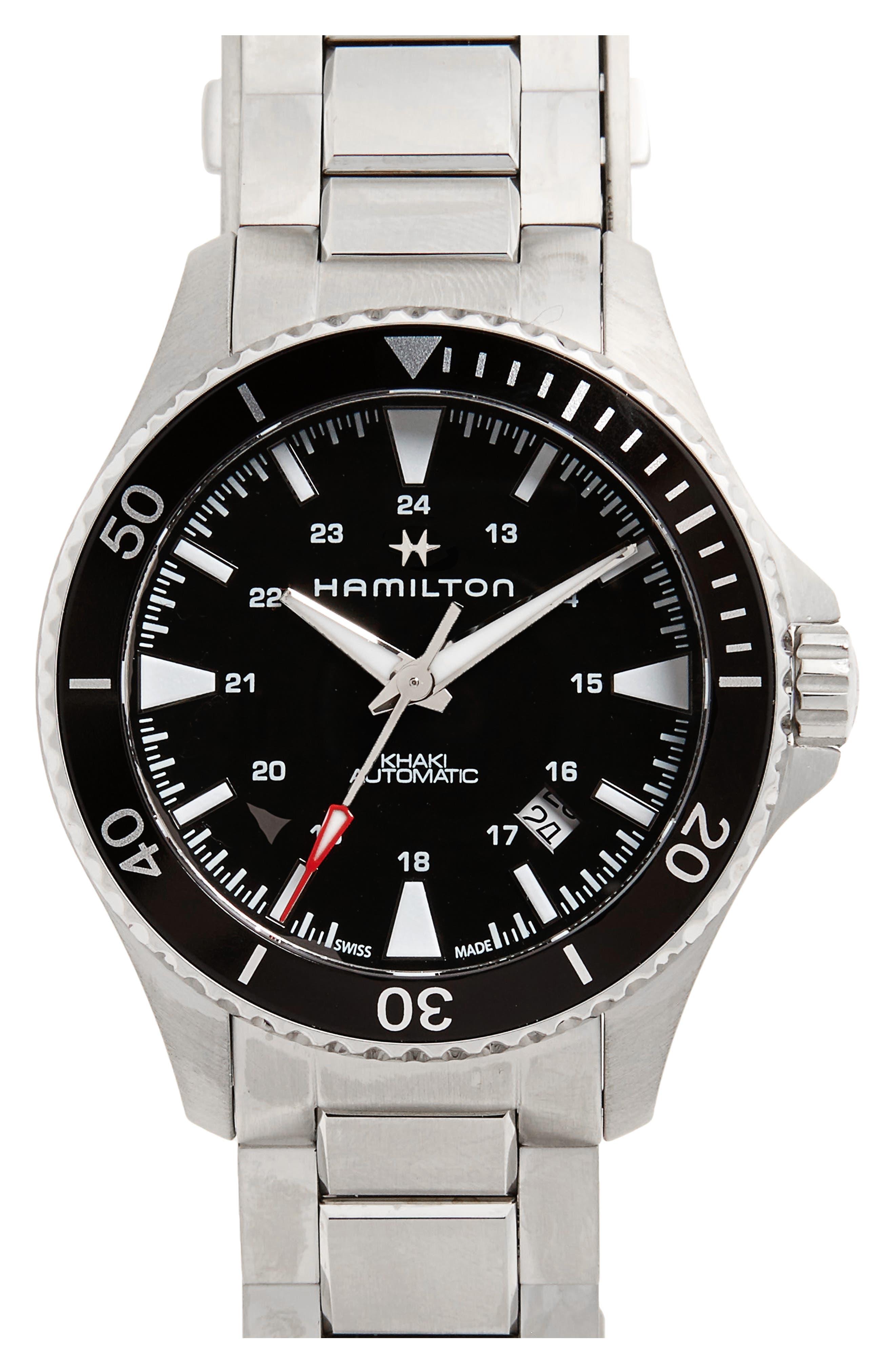 HAMILTON, Khaki Automatic Bracelet Watch, 40mm, Main thumbnail 1, color, SILVER/ BLACK/ SILVER