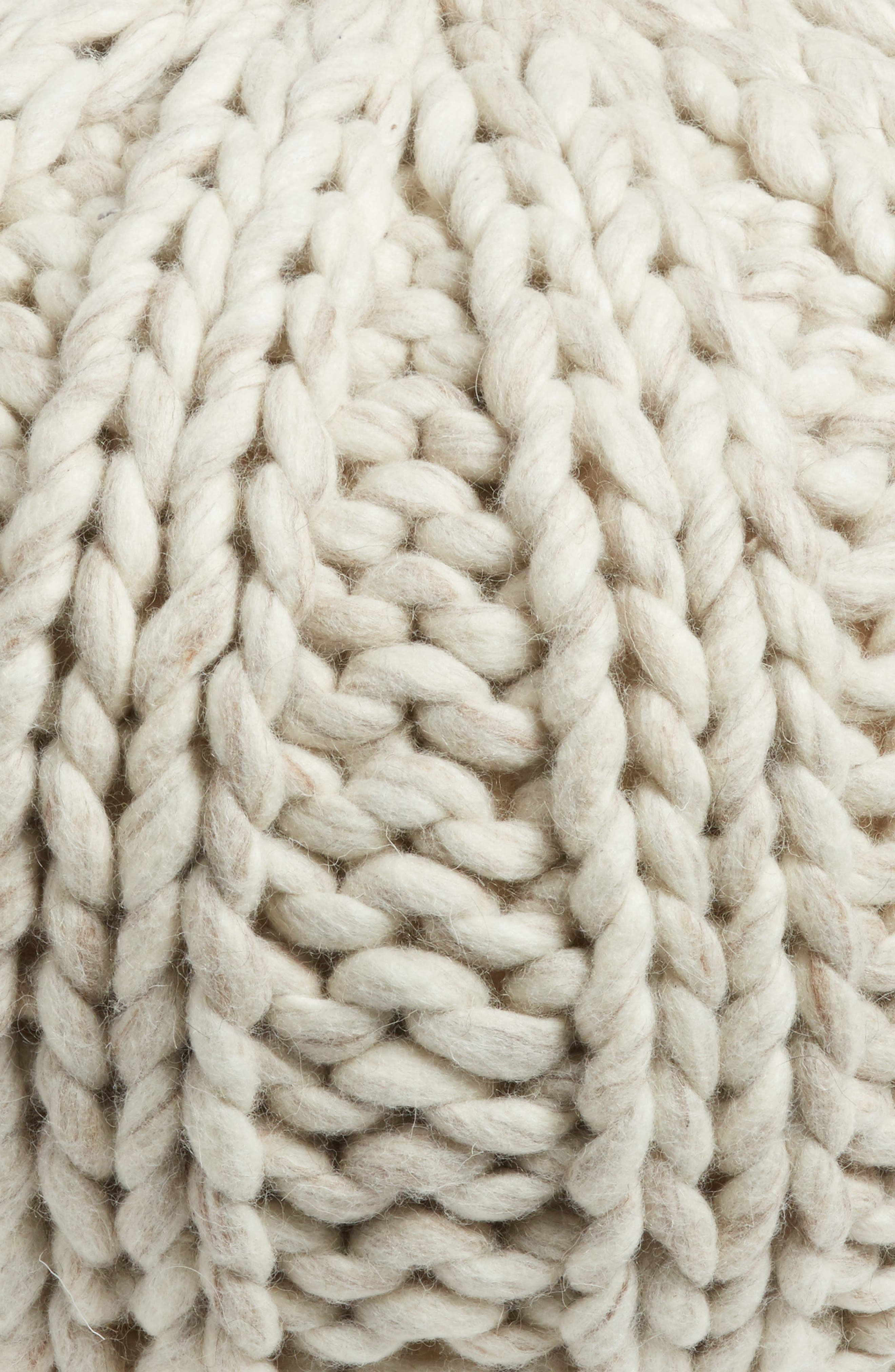 TREASURE & BOND, Chunky Knit Pouf, Alternate thumbnail 2, color, IVORY
