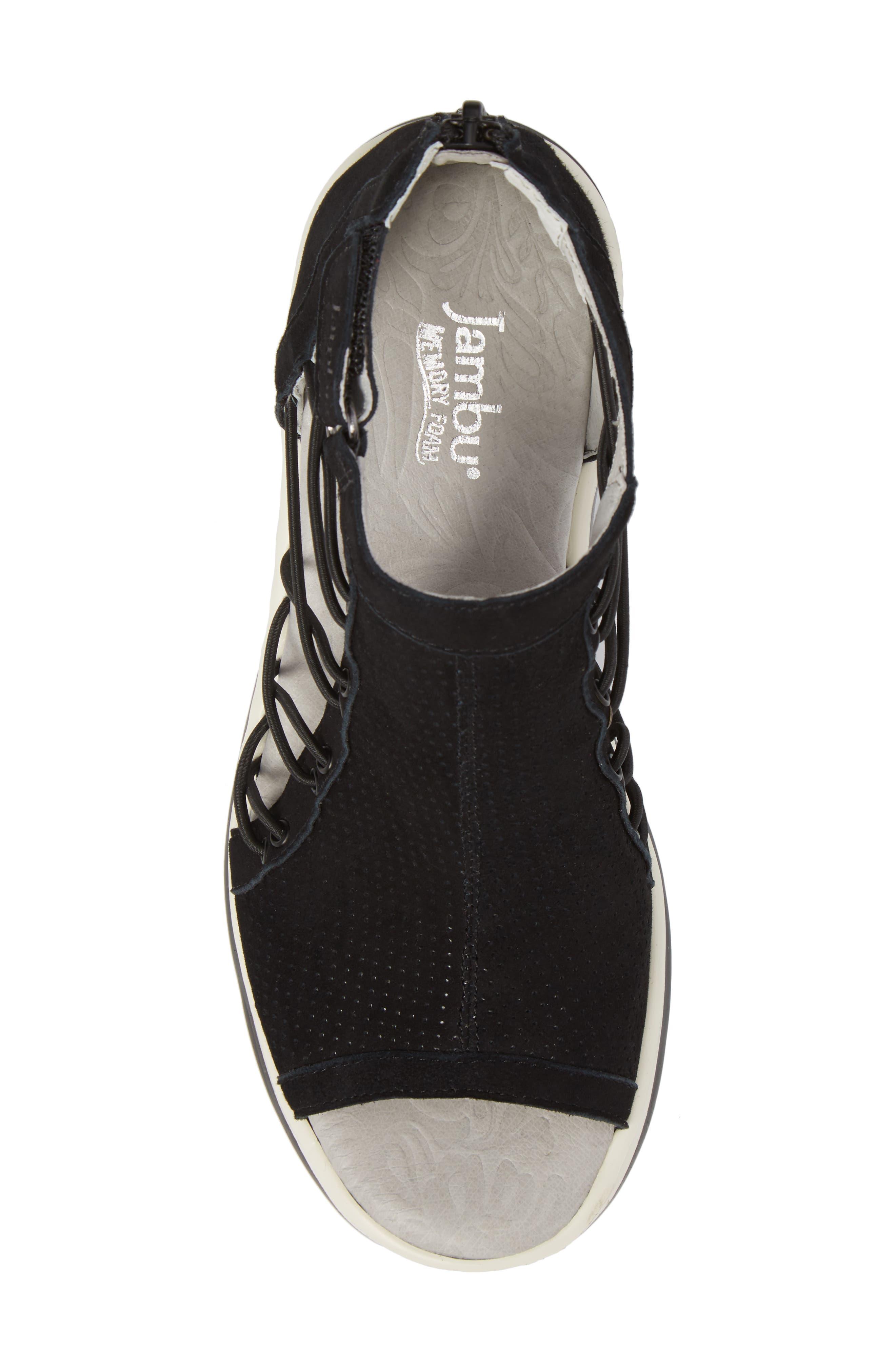 JAMBU, Naomi Perforated Wedge Sandal, Alternate thumbnail 5, color, BLACK SUEDE