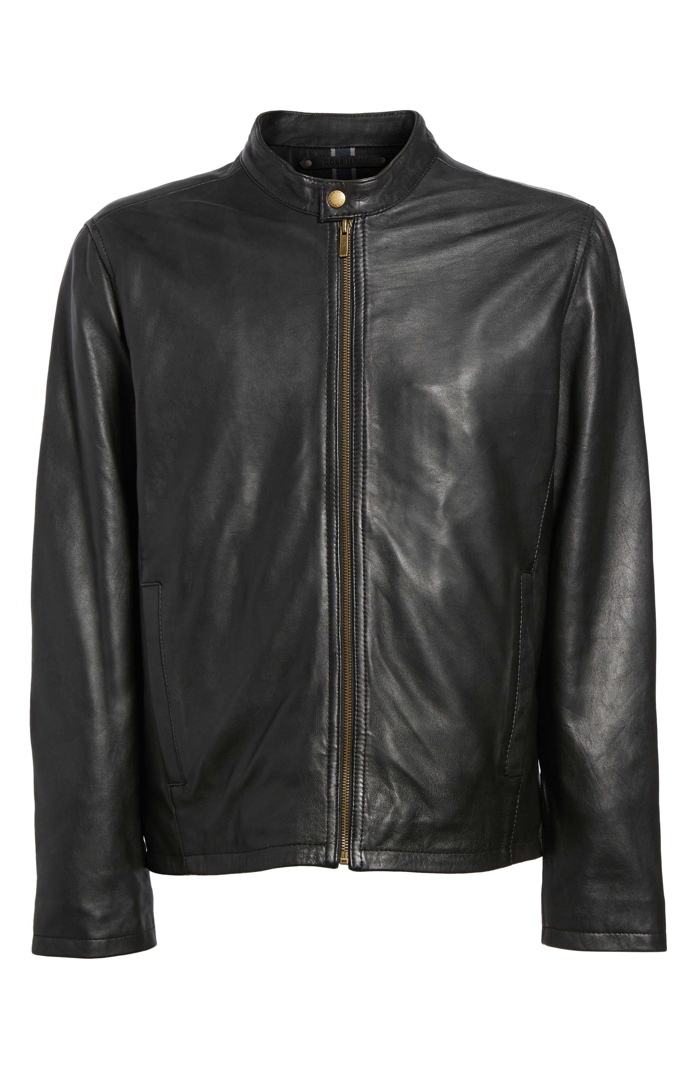 COLE HAAN, Lambskin Leather Moto Jacket, Alternate thumbnail 6, color, 001