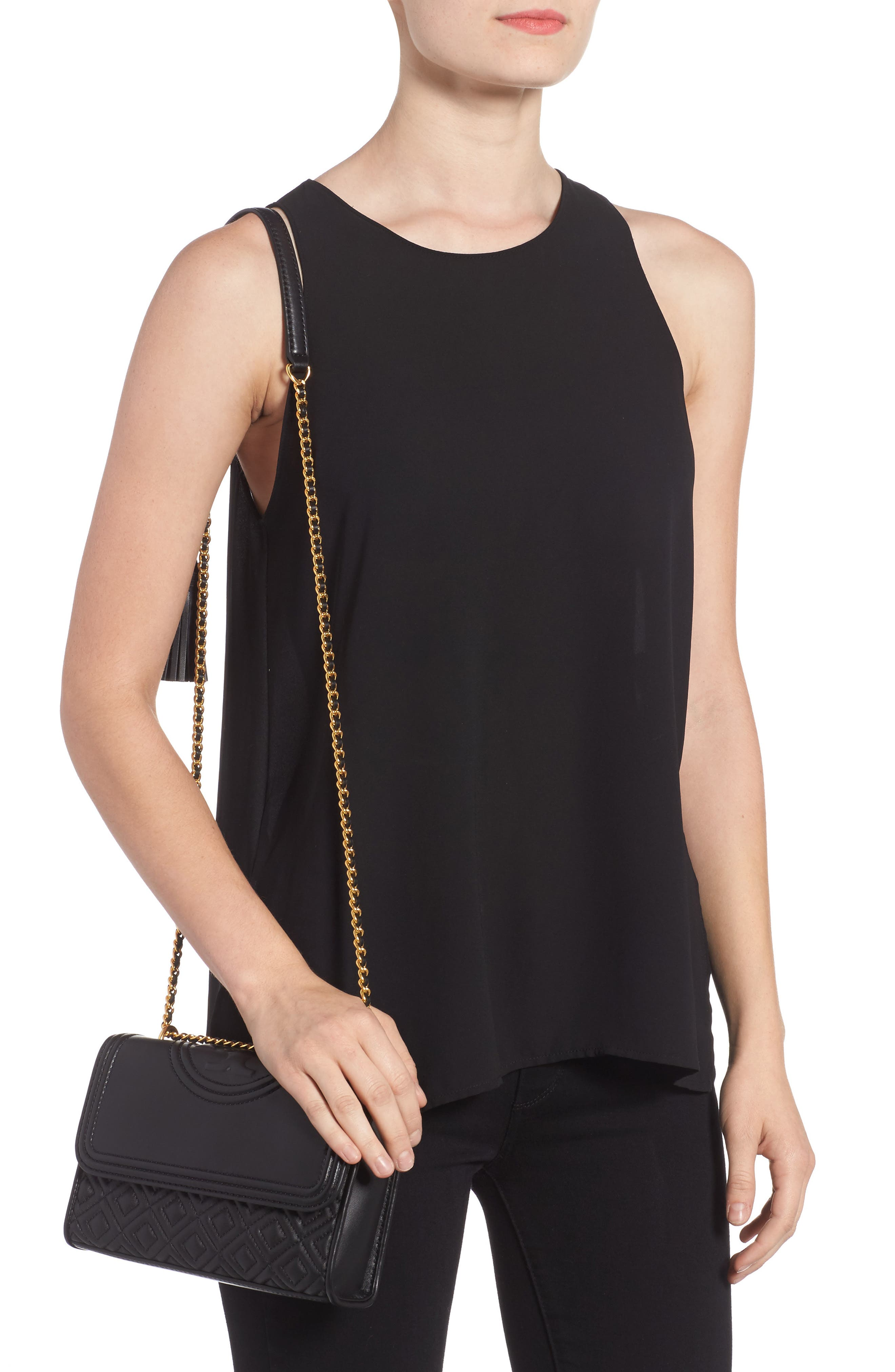 TORY BURCH, Small Fleming Leather Convertible Shoulder Bag, Alternate thumbnail 2, color, BLACK