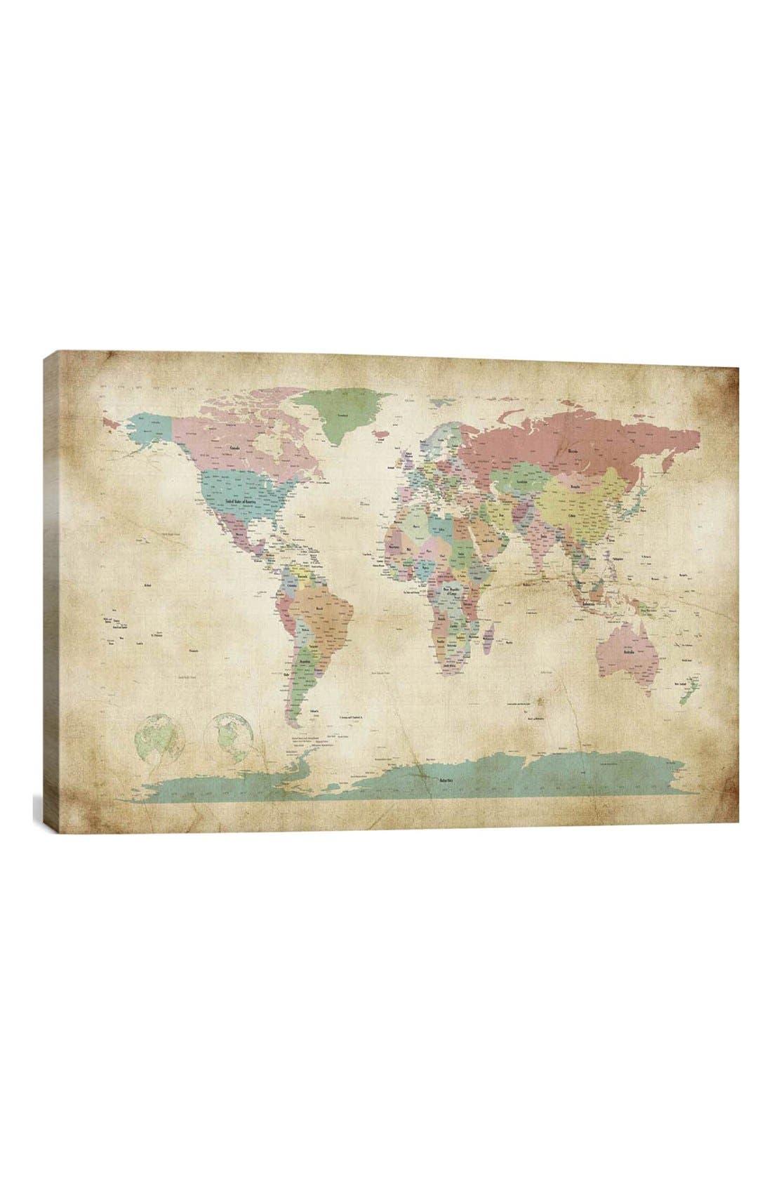 ICANVAS 'World Cities Map - Michael Thompsett' Giclée Print Canvas Art, Main, color, BROWN/ MULTI