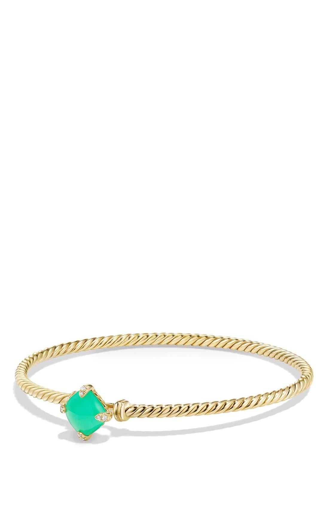 DAVID YURMAN, 'Châtelaine' Bracelet in 18K Gold with Diamonds, Main thumbnail 1, color, CHRYSOPRASE