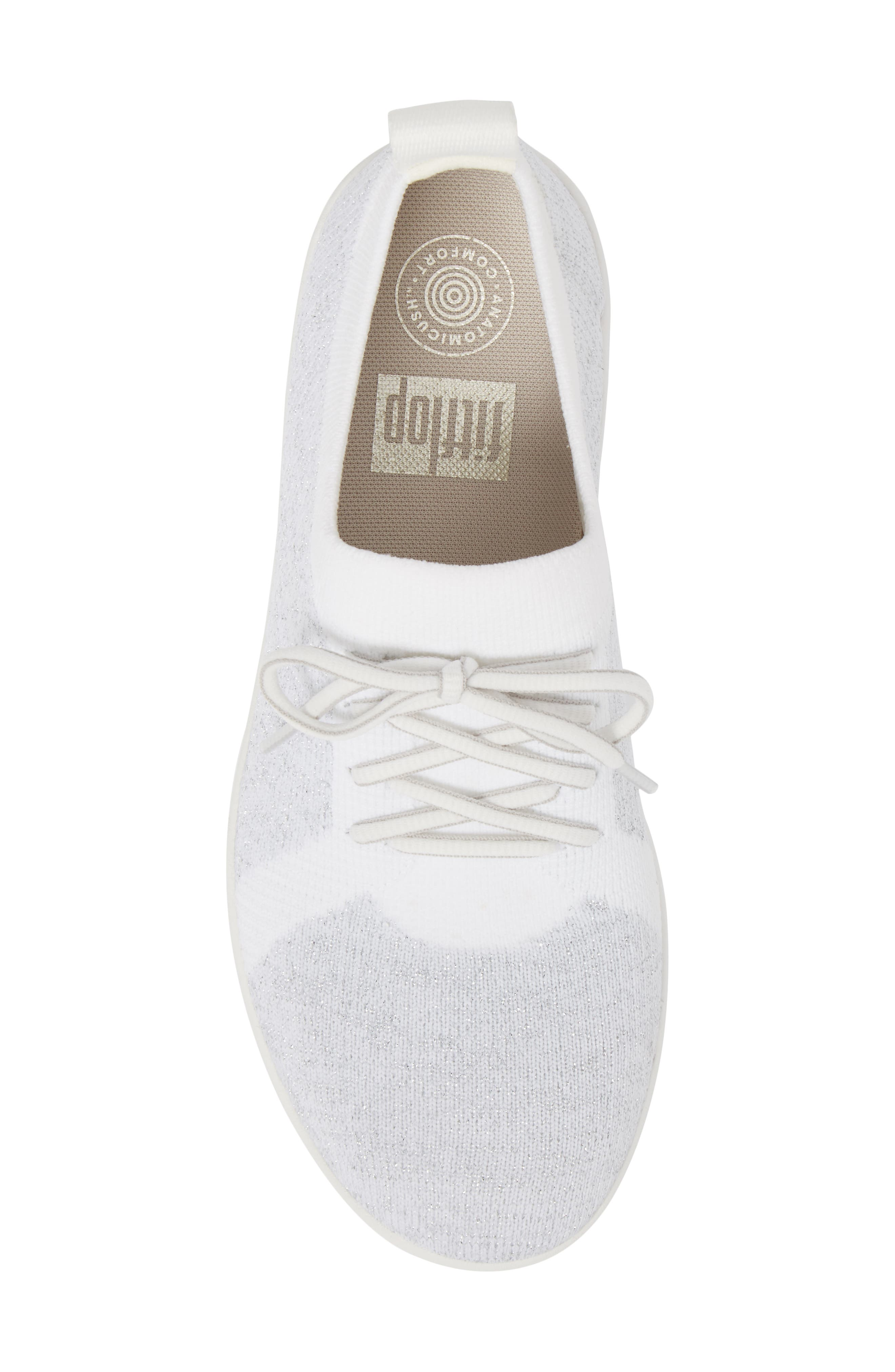 FITFLOP, Uberknit<sup>™</sup> F-Sporty Sneaker, Alternate thumbnail 5, color, METALLIC SILVER/ URBAN WHITE