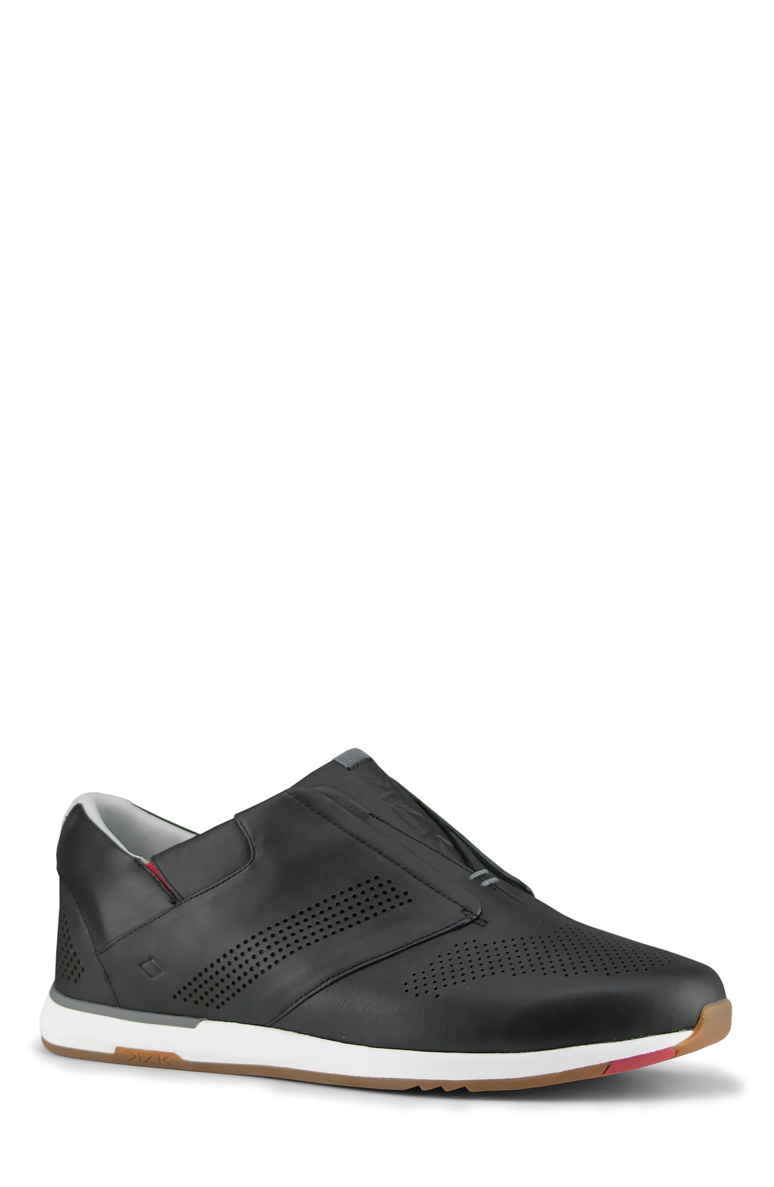 KIZIK, Dubai Slip-On Sneaker, Main thumbnail 1, color, BLACK LEATHER
