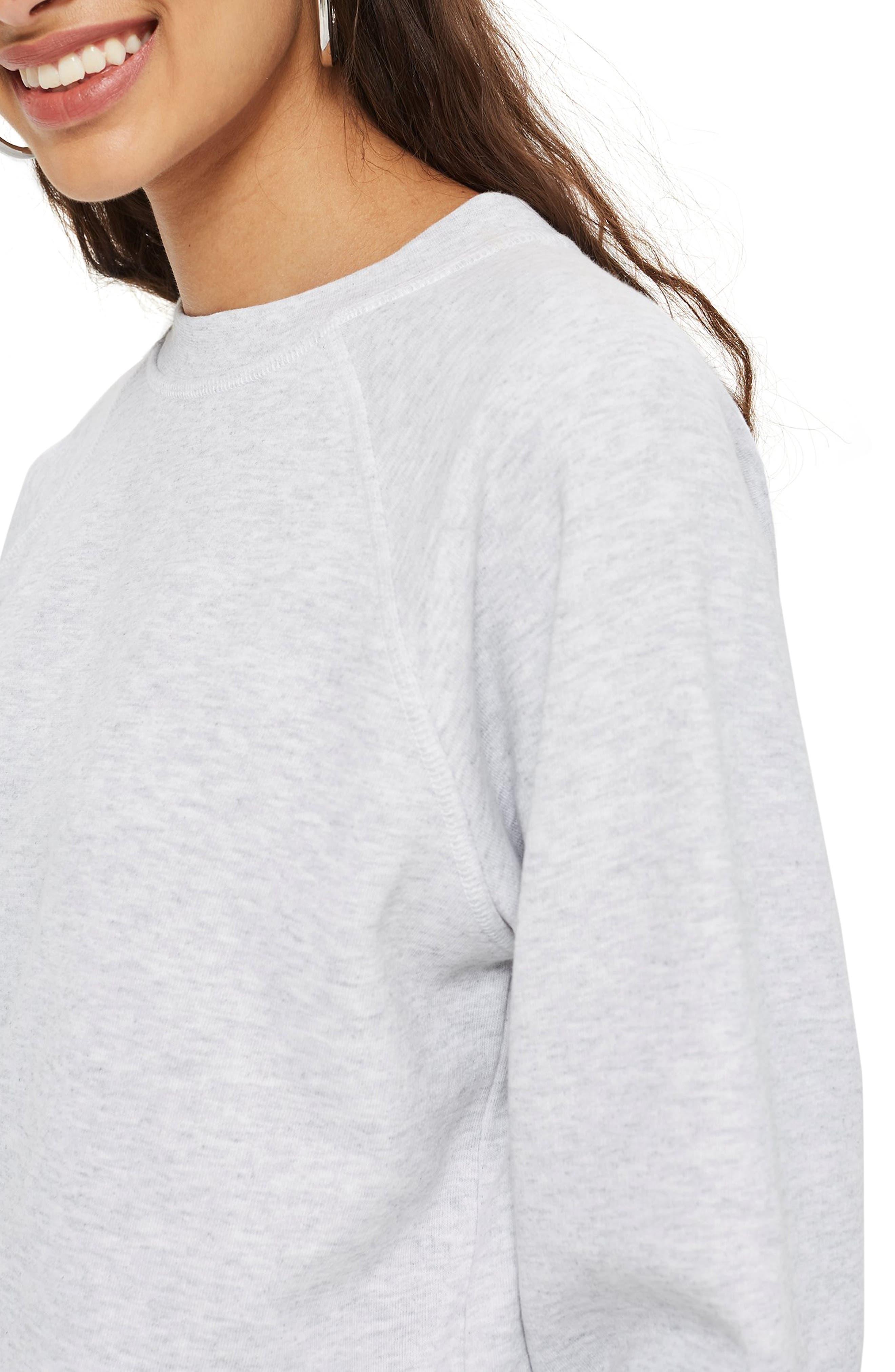 TOPSHOP, Crewneck Sweatshirt, Alternate thumbnail 3, color, 020
