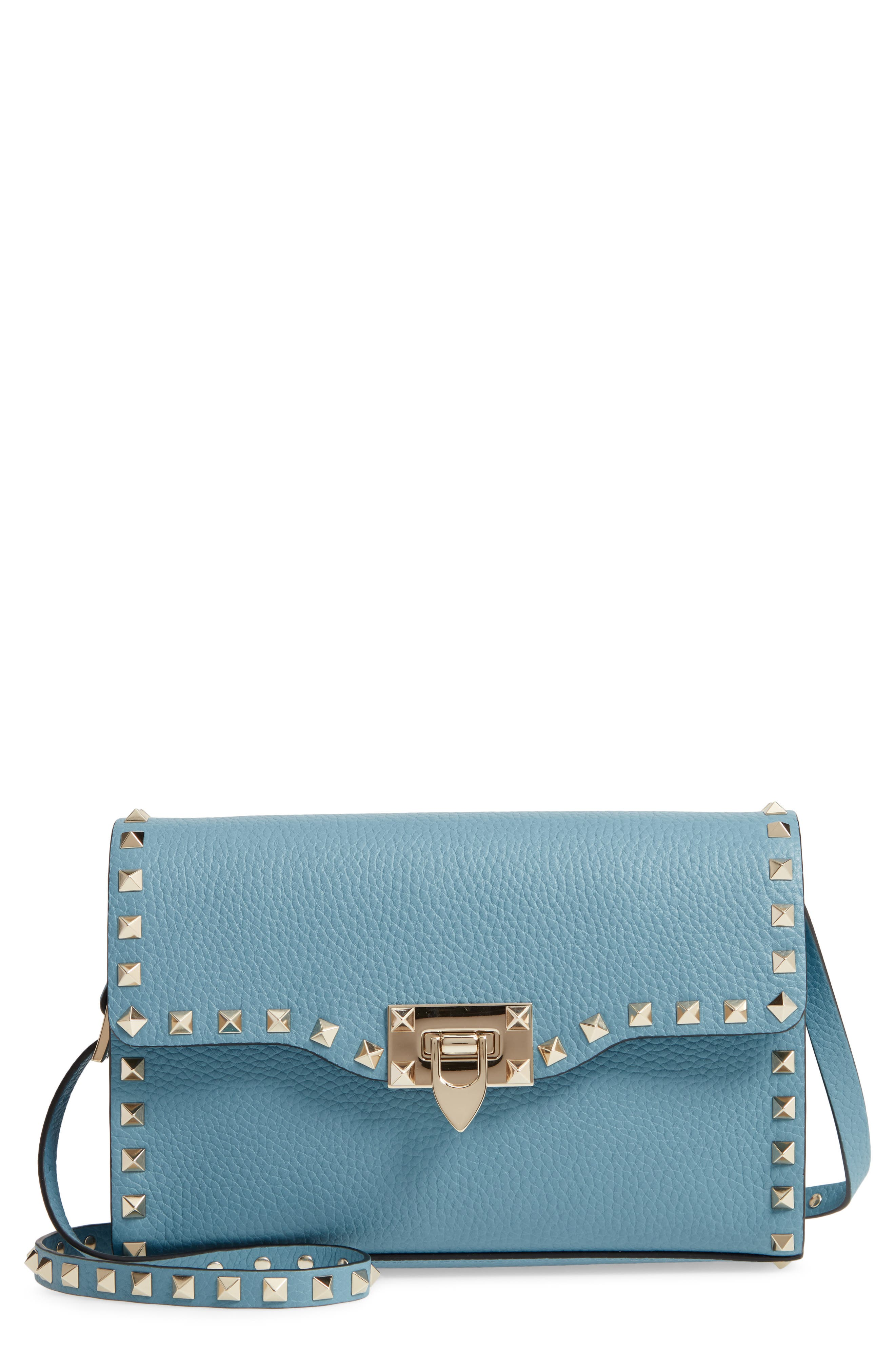VALENTINO GARAVANI Medium Rockstud Leather Crossbody Bag, Main, color, 485