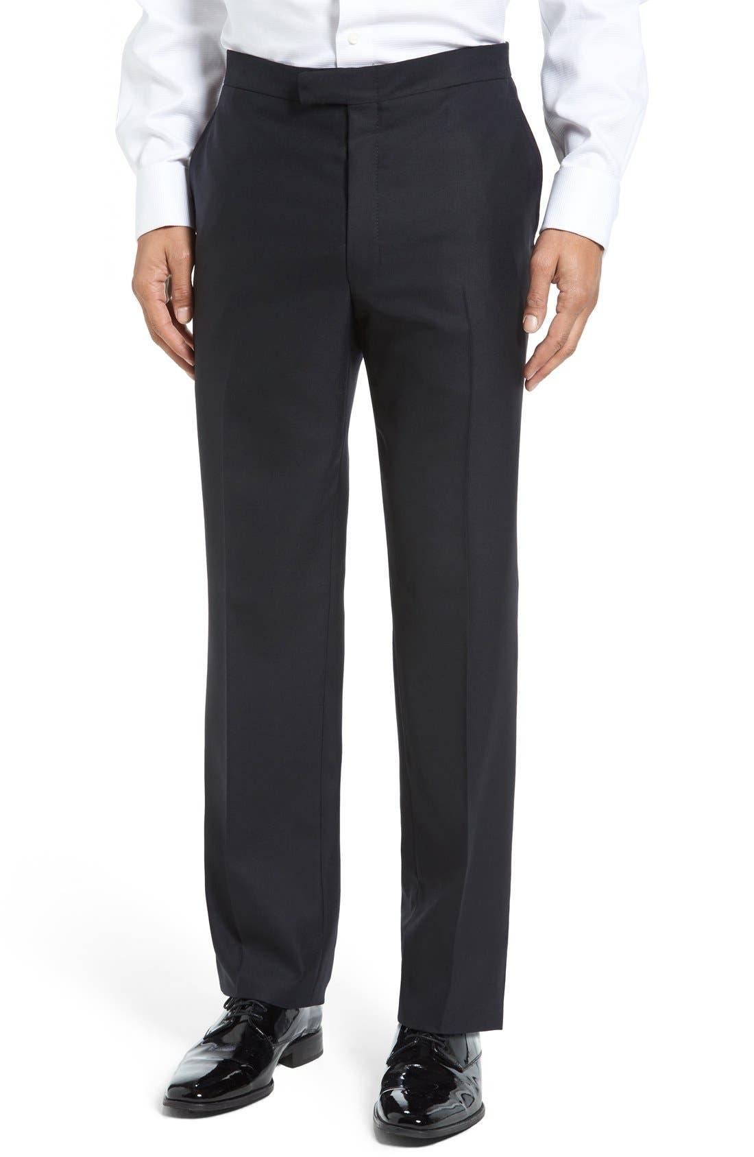 HART SCHAFFNER MARX, New York Classic Fit Black Wool Tuxedo, Alternate thumbnail 8, color, BLACK