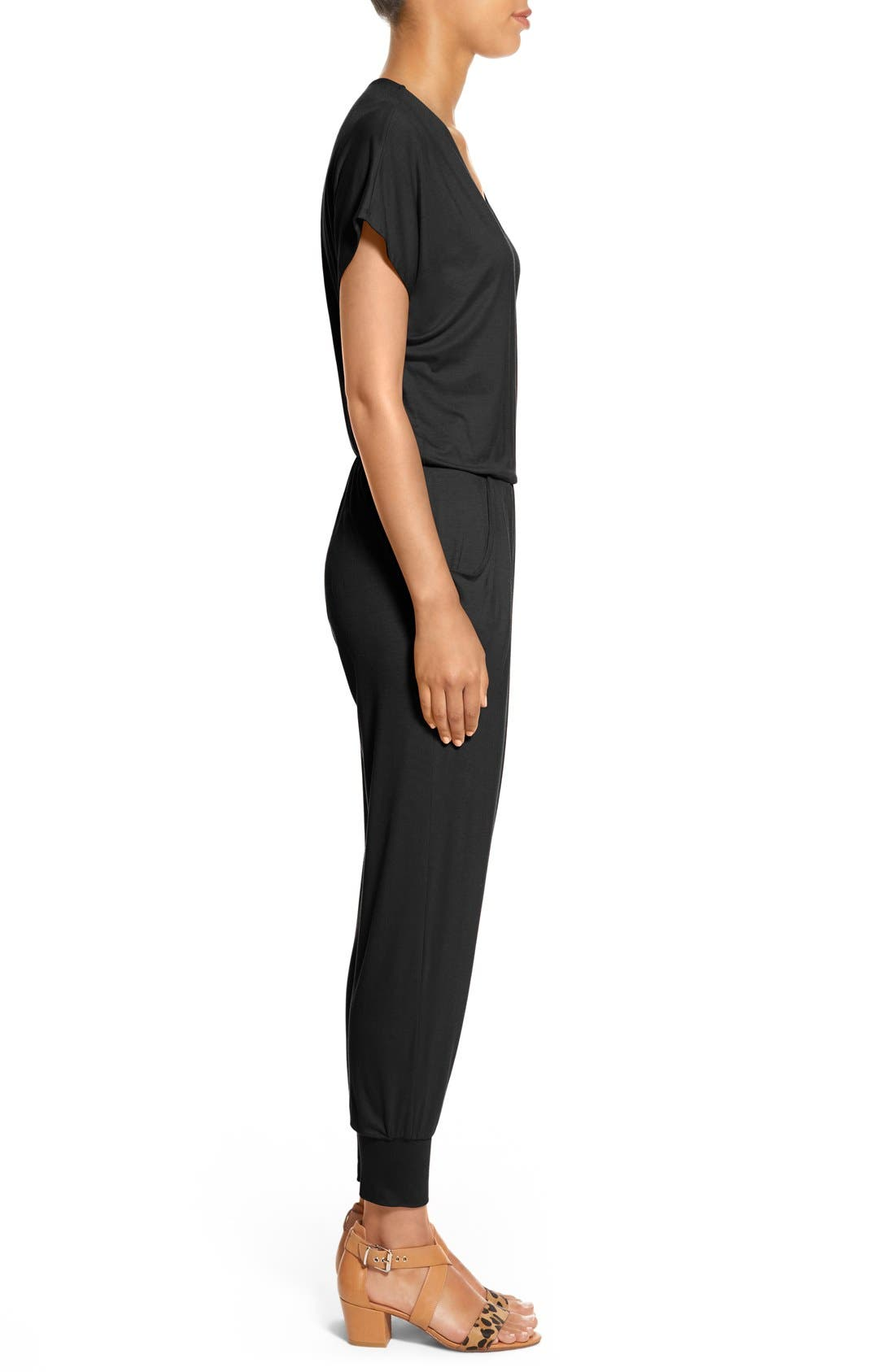 LOVEAPPELLA, Short Sleeve Wrap Top Jumpsuit, Alternate thumbnail 5, color, BLACK