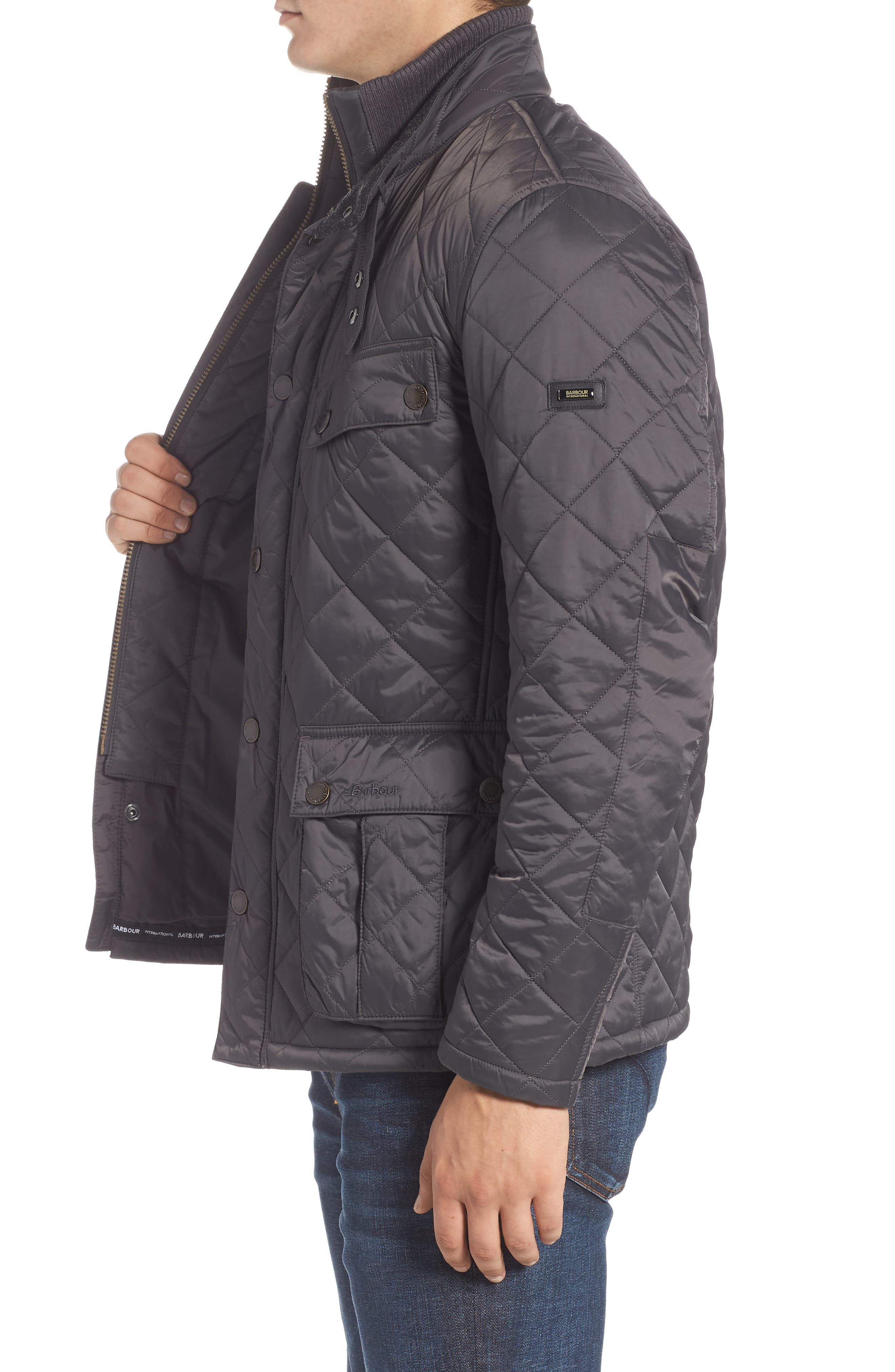 BARBOUR, International Windshield Quilted Jacket, Alternate thumbnail 4, color, CHARCOAL