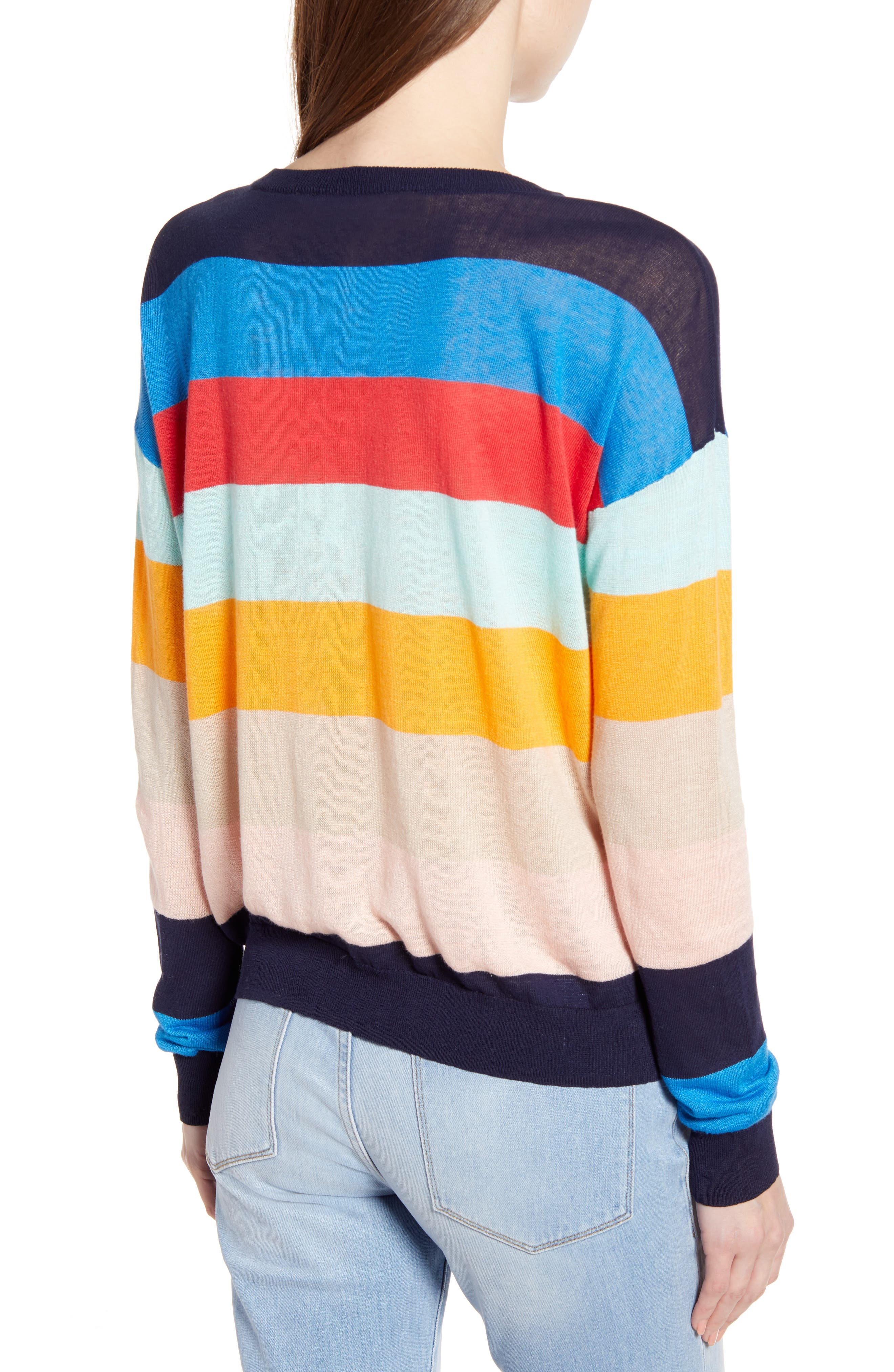 SPLENDID, Sunray Colorblock Sweater, Alternate thumbnail 2, color, BONFIRE MULTI