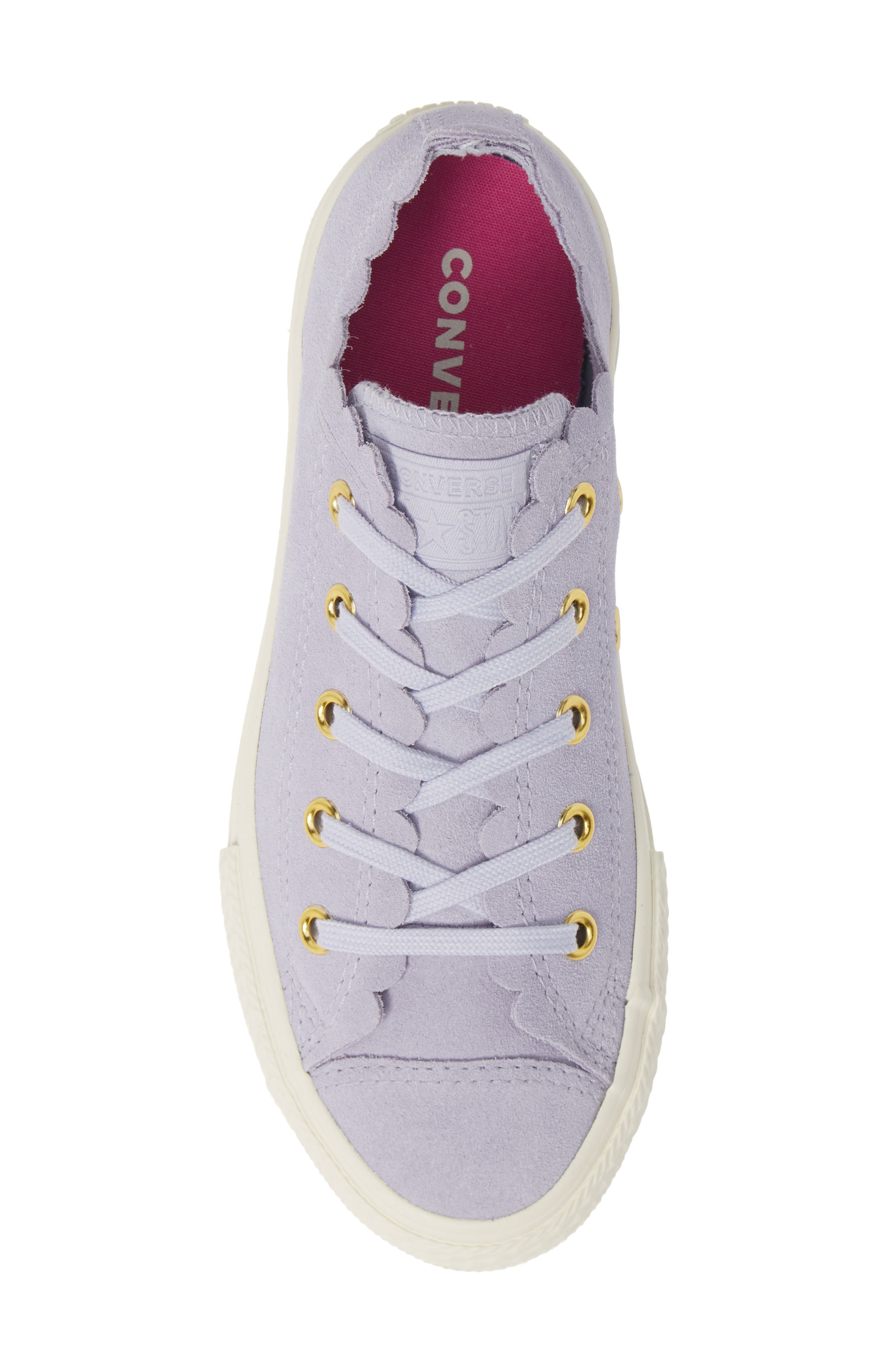 CONVERSE, Chuck Taylor<sup>®</sup> All Star<sup>®</sup> Ox Scallop Sneaker, Alternate thumbnail 5, color, OXYGEN PURPLE/ OXYGEN PURPLE