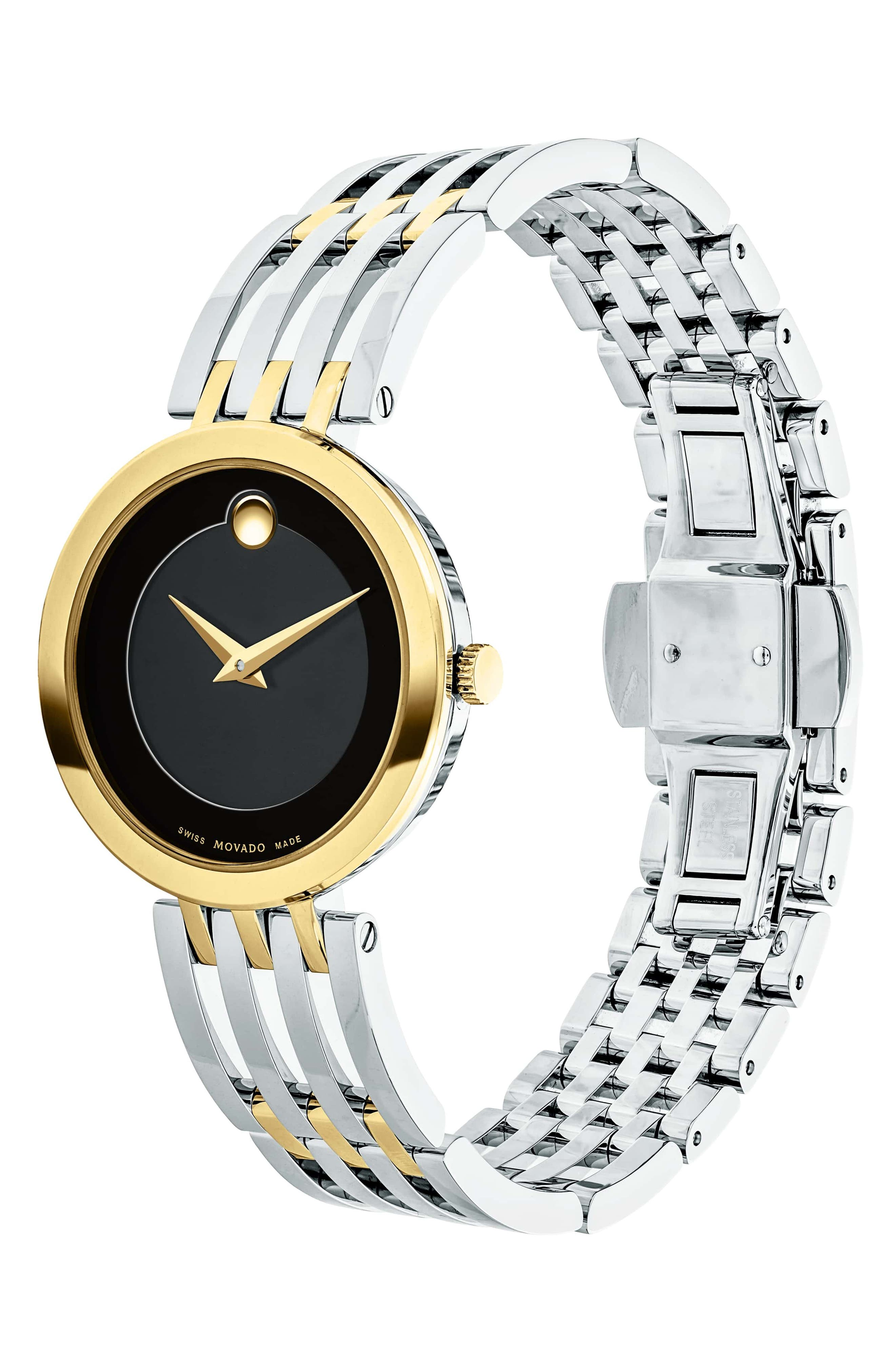 MOVADO, 'Esperanza' Bracelet Watch, 28mm, Alternate thumbnail 3, color, SILVER/ BLACK/ GOLD