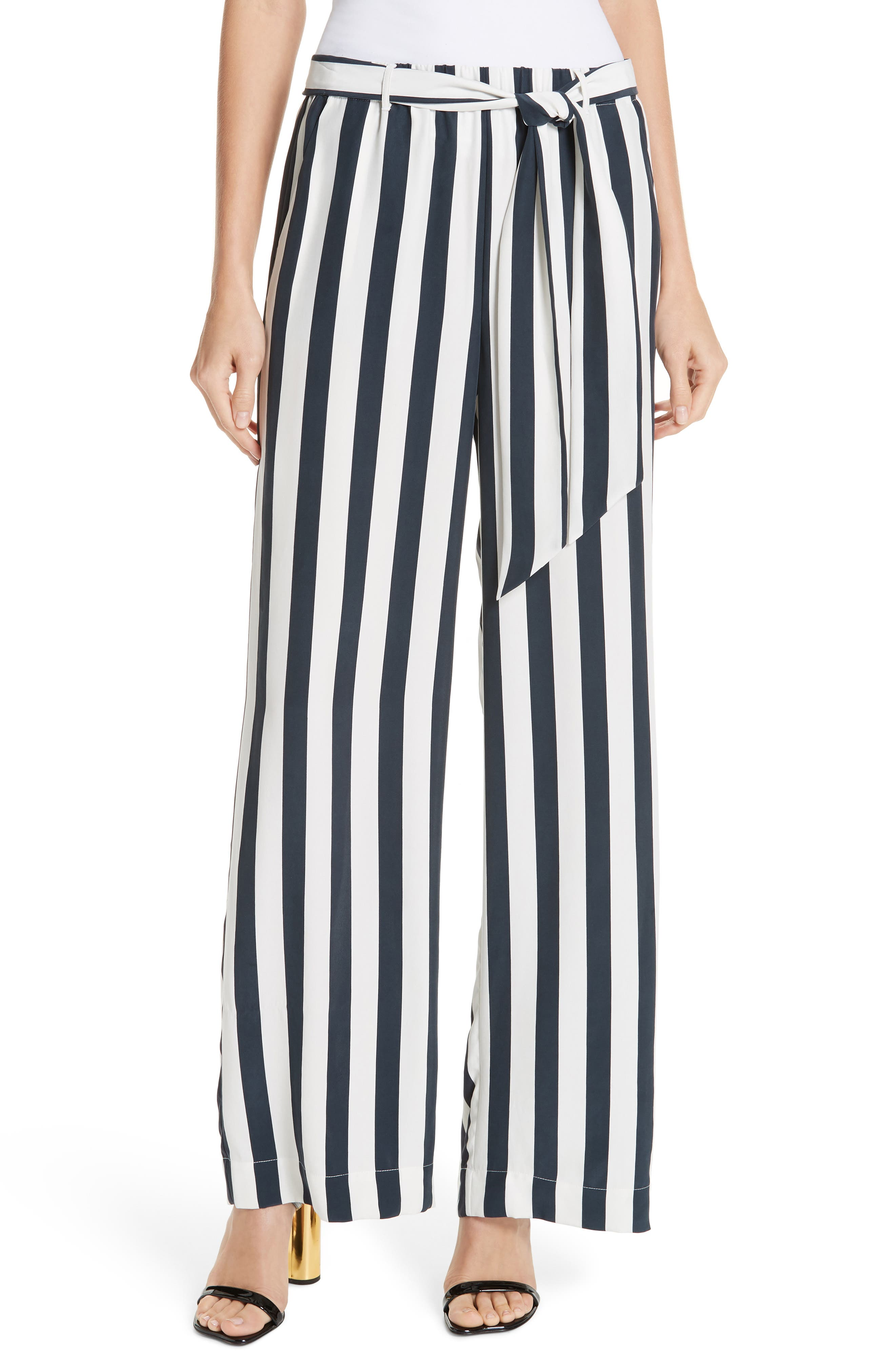 FRAME, Belted Stripe Wide Leg Silk Pants, Main thumbnail 1, color, NAVY MULTI