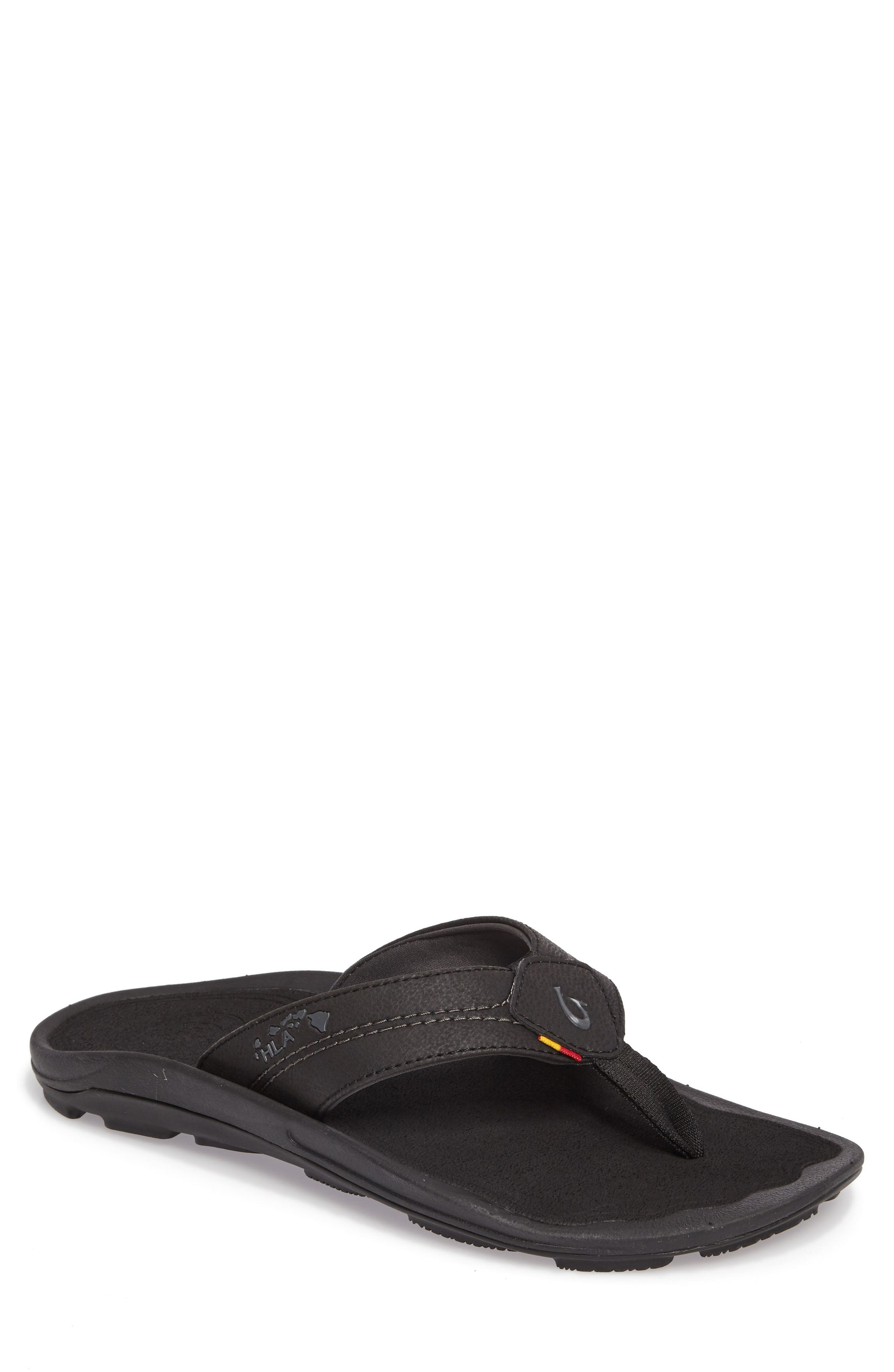 OLUKAI Kipi Flip Flop, Main, color, BLACK/ BLACK